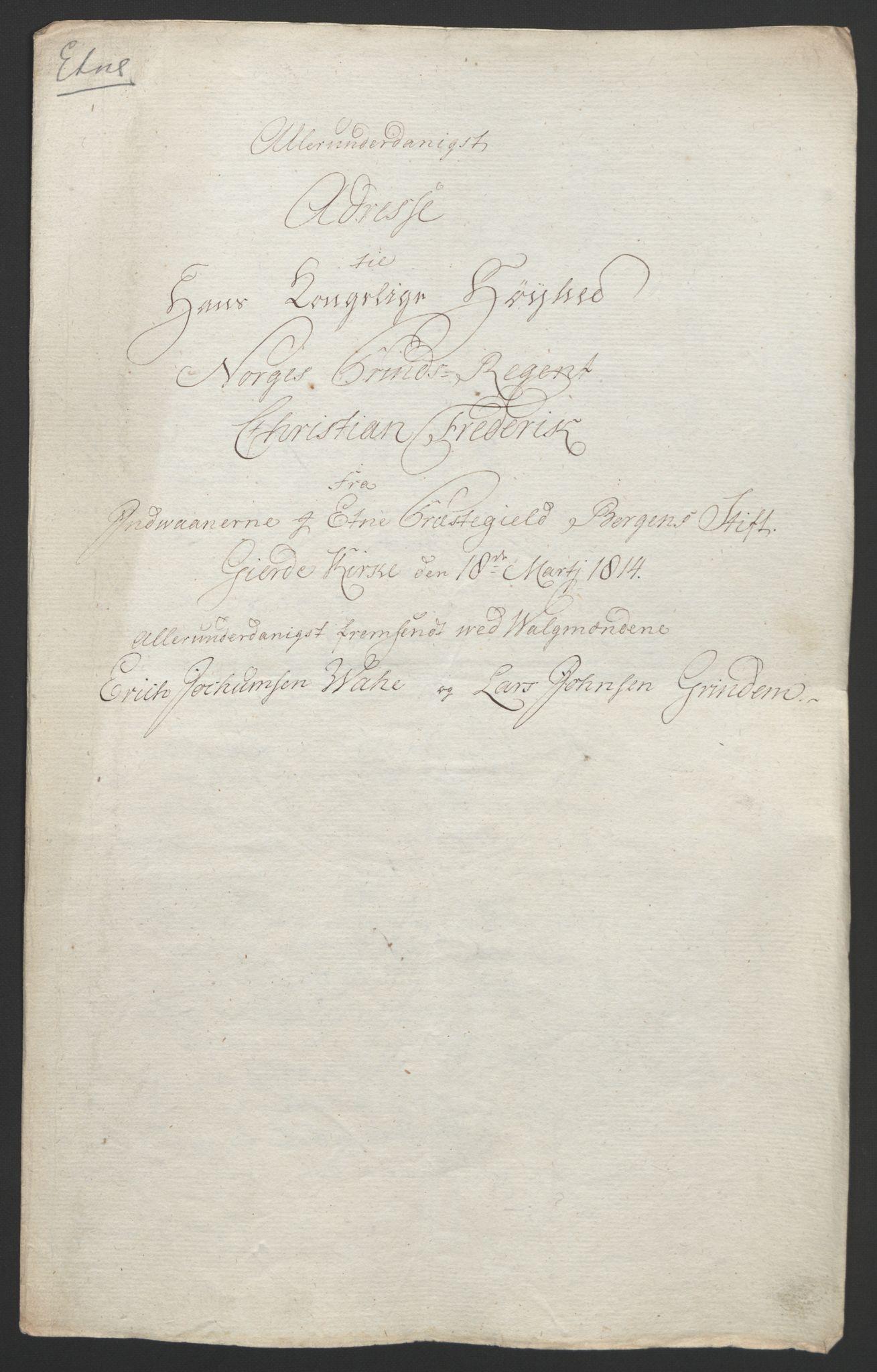 RA, Statsrådssekretariatet, D/Db/L0008: Fullmakter for Eidsvollsrepresentantene i 1814. , 1814, s. 269
