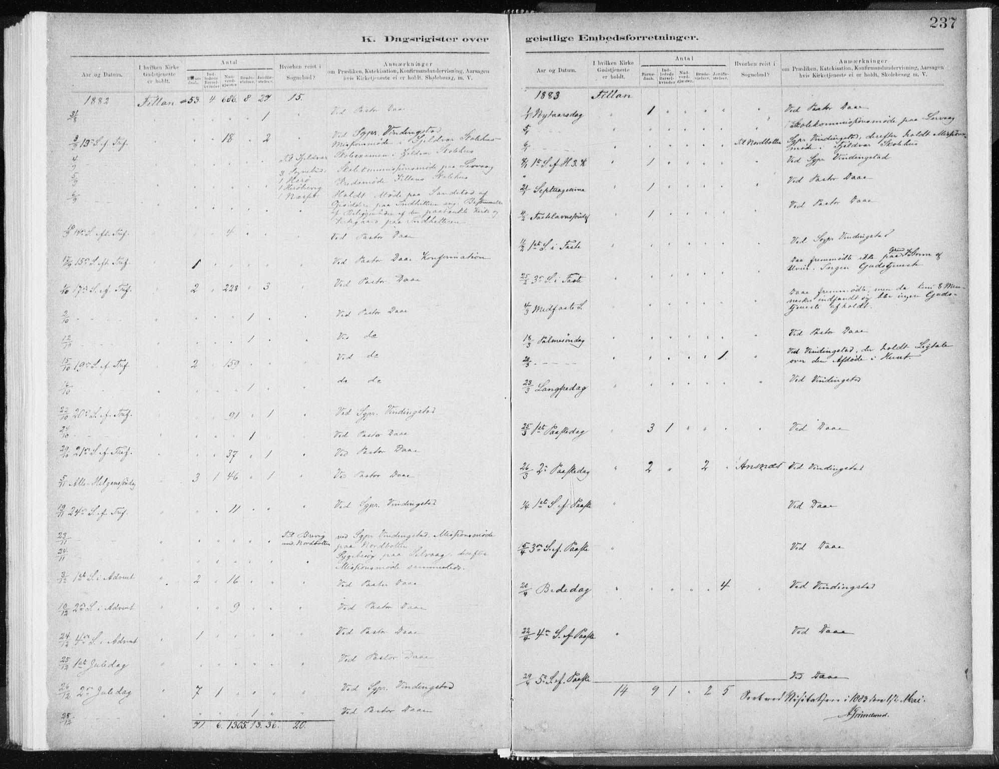 SAT, Ministerialprotokoller, klokkerbøker og fødselsregistre - Sør-Trøndelag, 637/L0558: Ministerialbok nr. 637A01, 1882-1899, s. 237