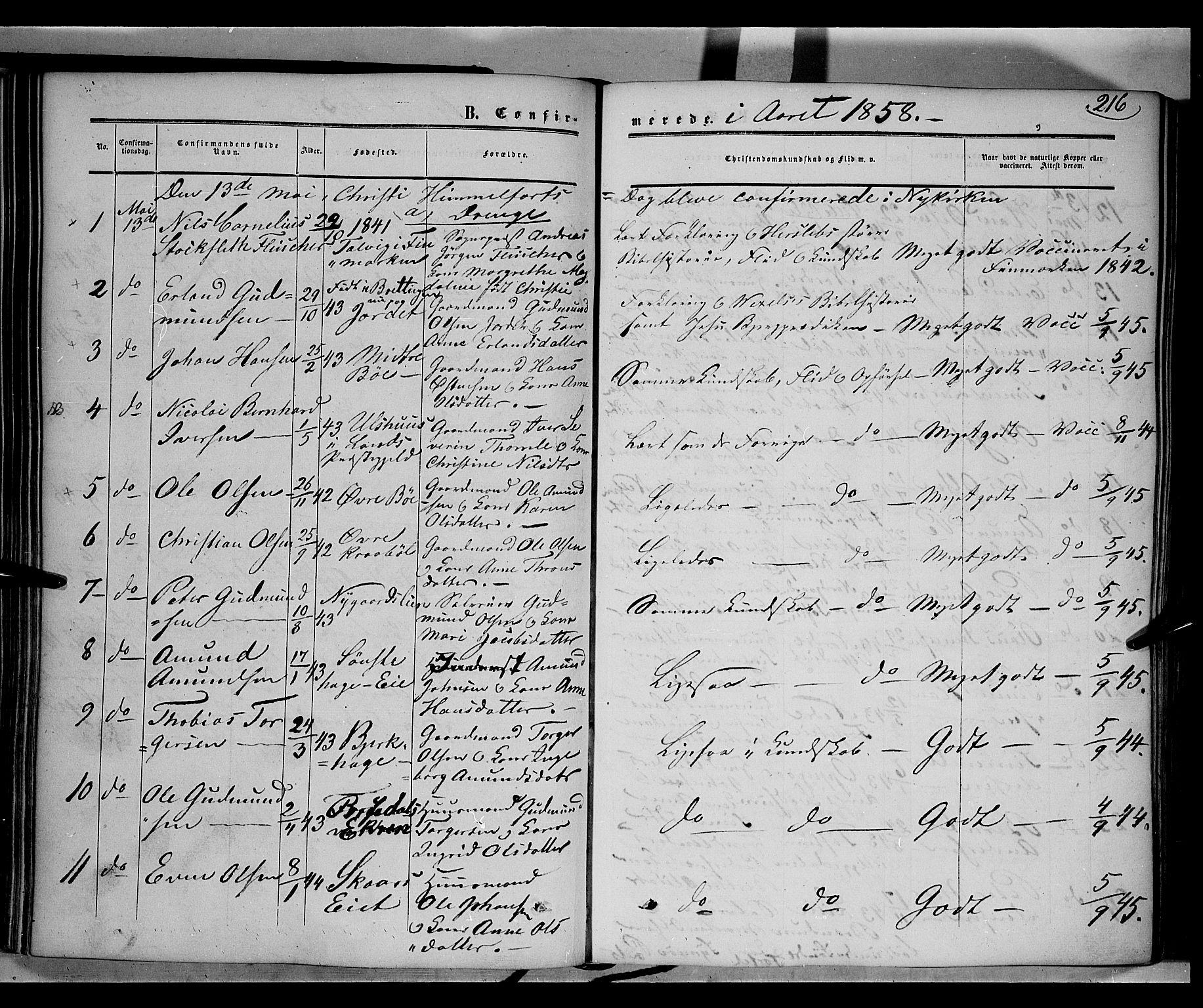 SAH, Gausdal prestekontor, Ministerialbok nr. 8, 1850-1861, s. 216