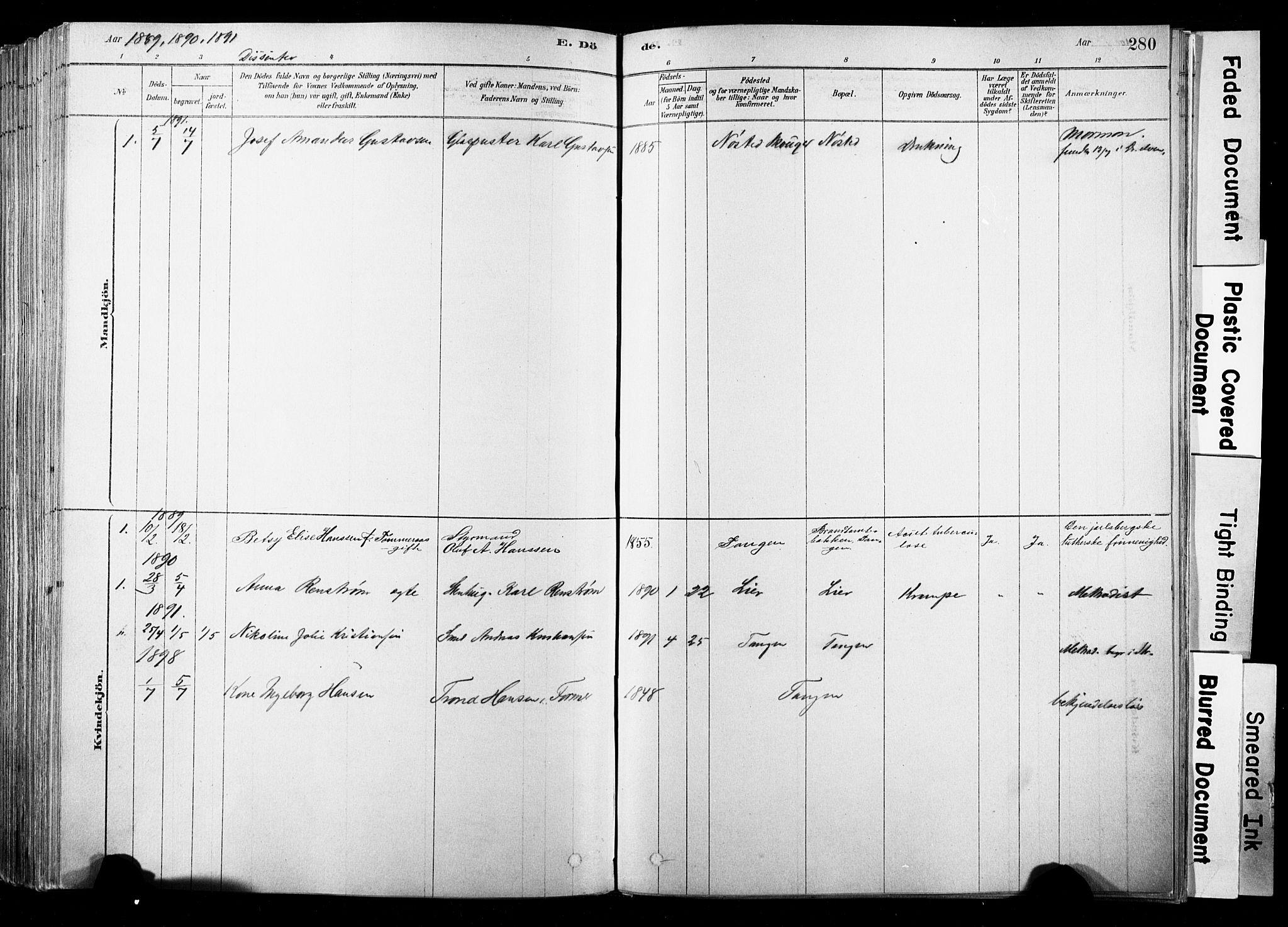 SAKO, Strømsø kirkebøker, F/Fb/L0006: Ministerialbok nr. II 6, 1879-1910, s. 280