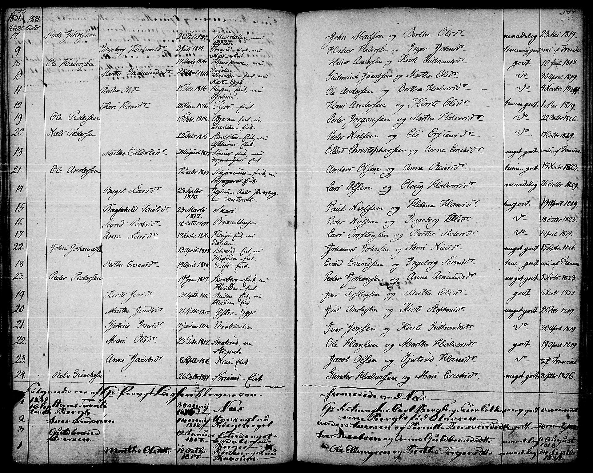 SAH, Gran prestekontor, Ministerialbok nr. 10, 1824-1842, s. 506-507