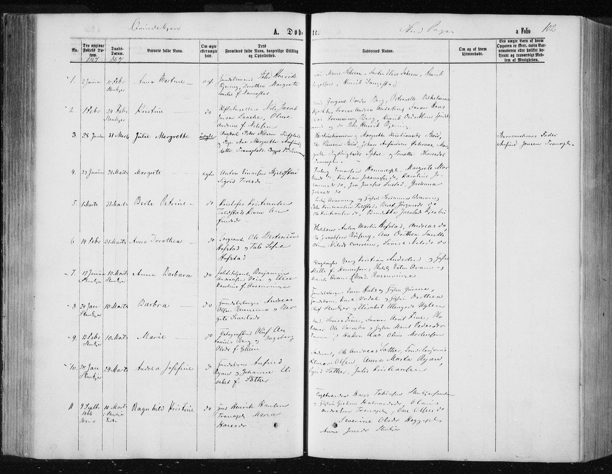 SAT, Ministerialprotokoller, klokkerbøker og fødselsregistre - Nord-Trøndelag, 735/L0345: Ministerialbok nr. 735A08 /2, 1863-1872, s. 102