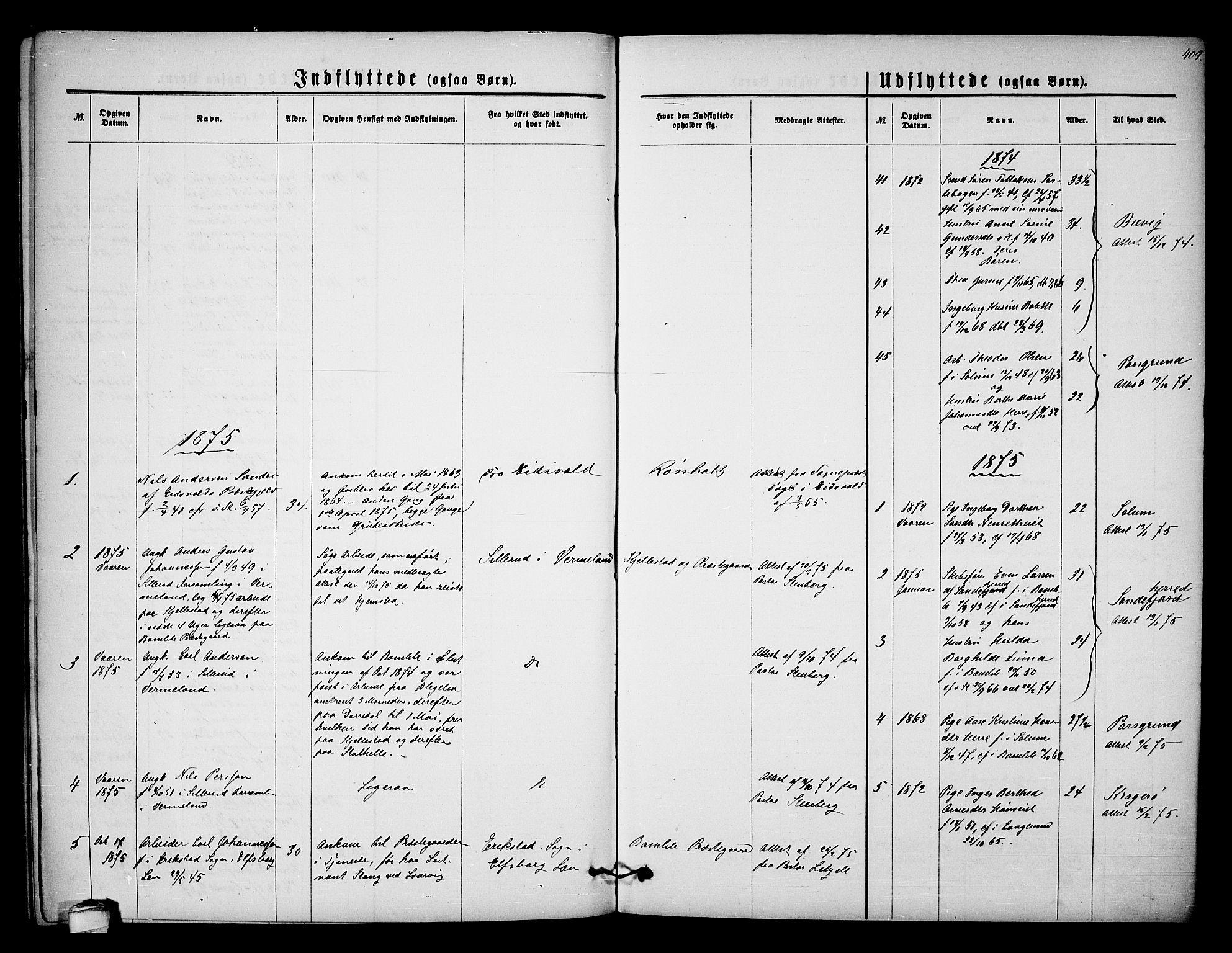 SAKO, Bamble kirkebøker, G/Ga/L0006: Klokkerbok nr. I 6, 1860-1876, s. 409