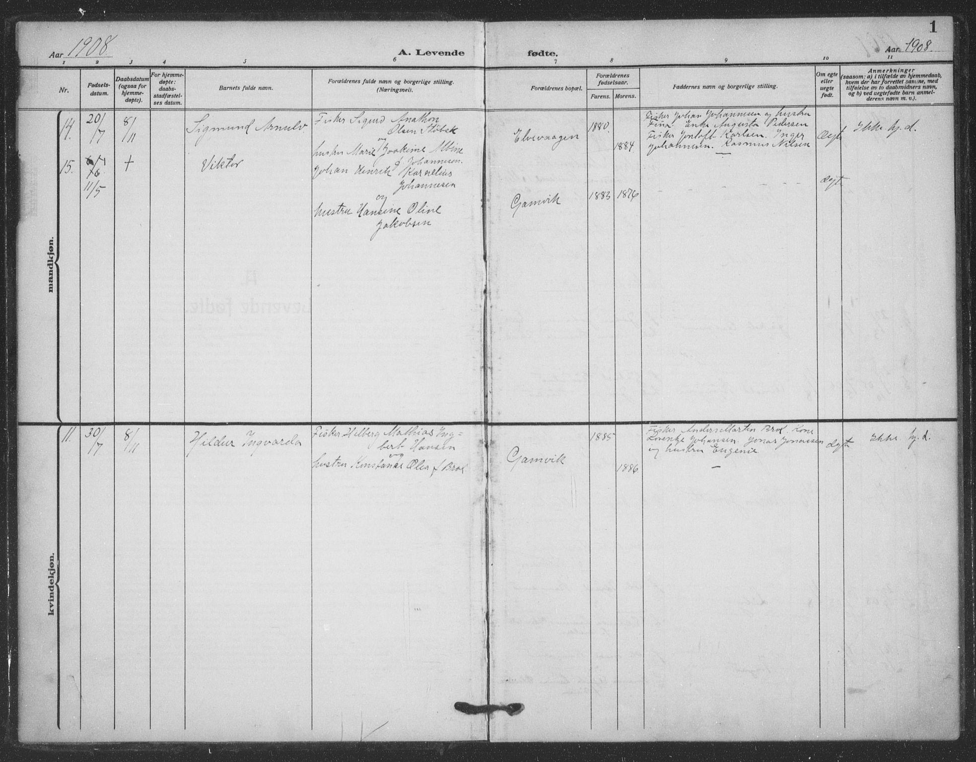 SATØ, Tana sokneprestkontor, H/Ha/L0008kirke: Ministerialbok nr. 8, 1908-1920, s. 1