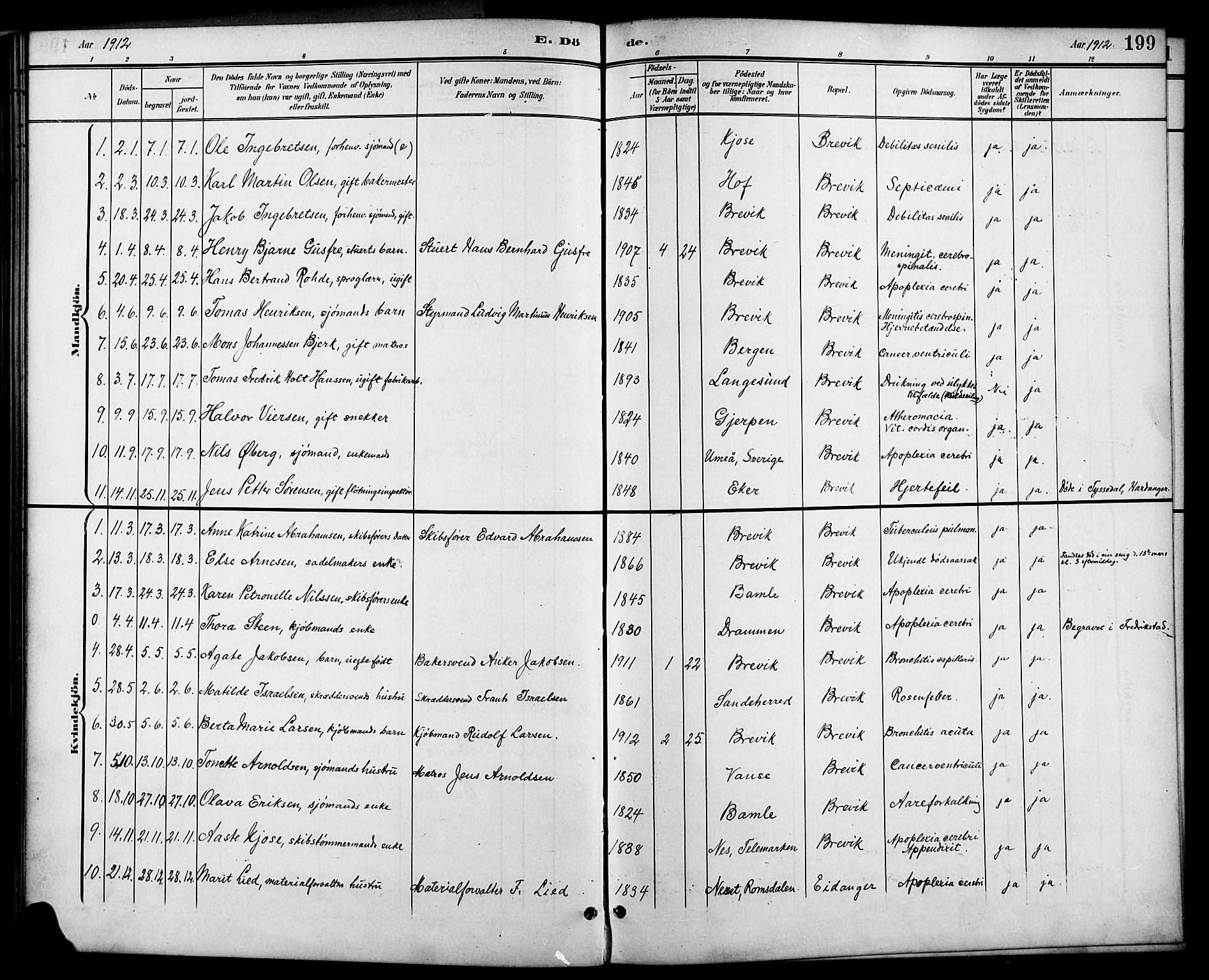 SAKO, Brevik kirkebøker, G/Ga/L0005: Klokkerbok nr. 5, 1901-1924, s. 199