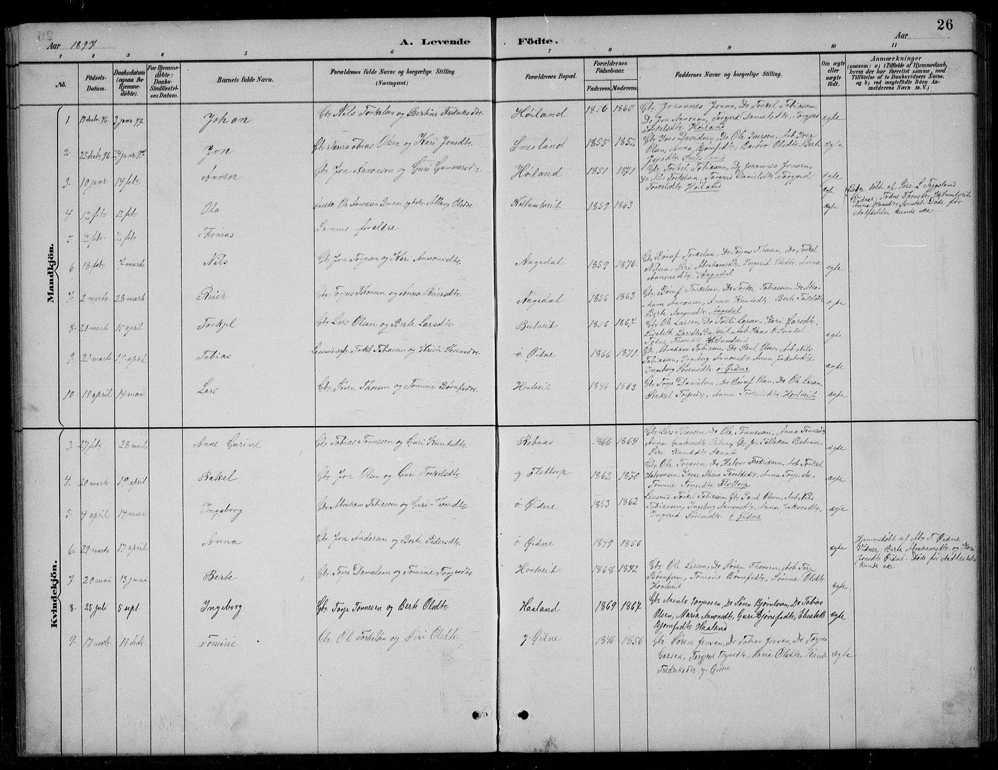 SAK, Bjelland sokneprestkontor, F/Fb/Fbc/L0003: Klokkerbok nr. B 3, 1887-1924, s. 26