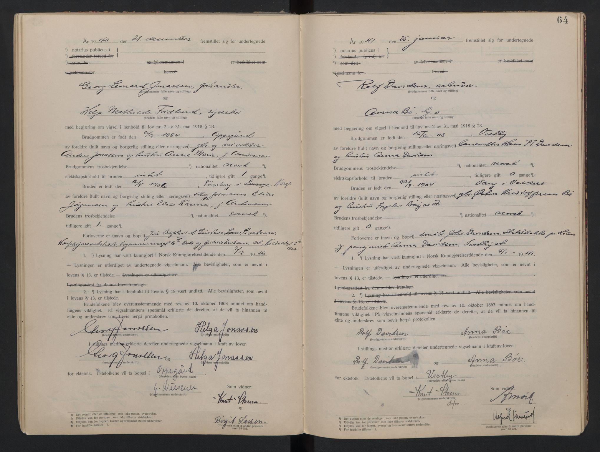 SAO, Follo sorenskriveri, L/La/Lab/L0001: Vigselsbok, 1920-1942, s. 64