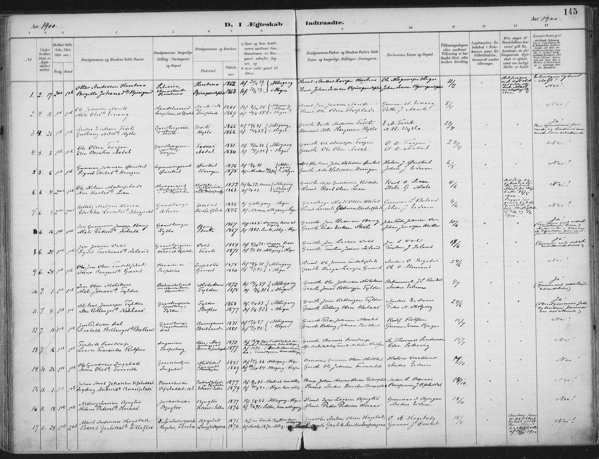 SAT, Ministerialprotokoller, klokkerbøker og fødselsregistre - Nord-Trøndelag, 703/L0031: Ministerialbok nr. 703A04, 1893-1914, s. 145