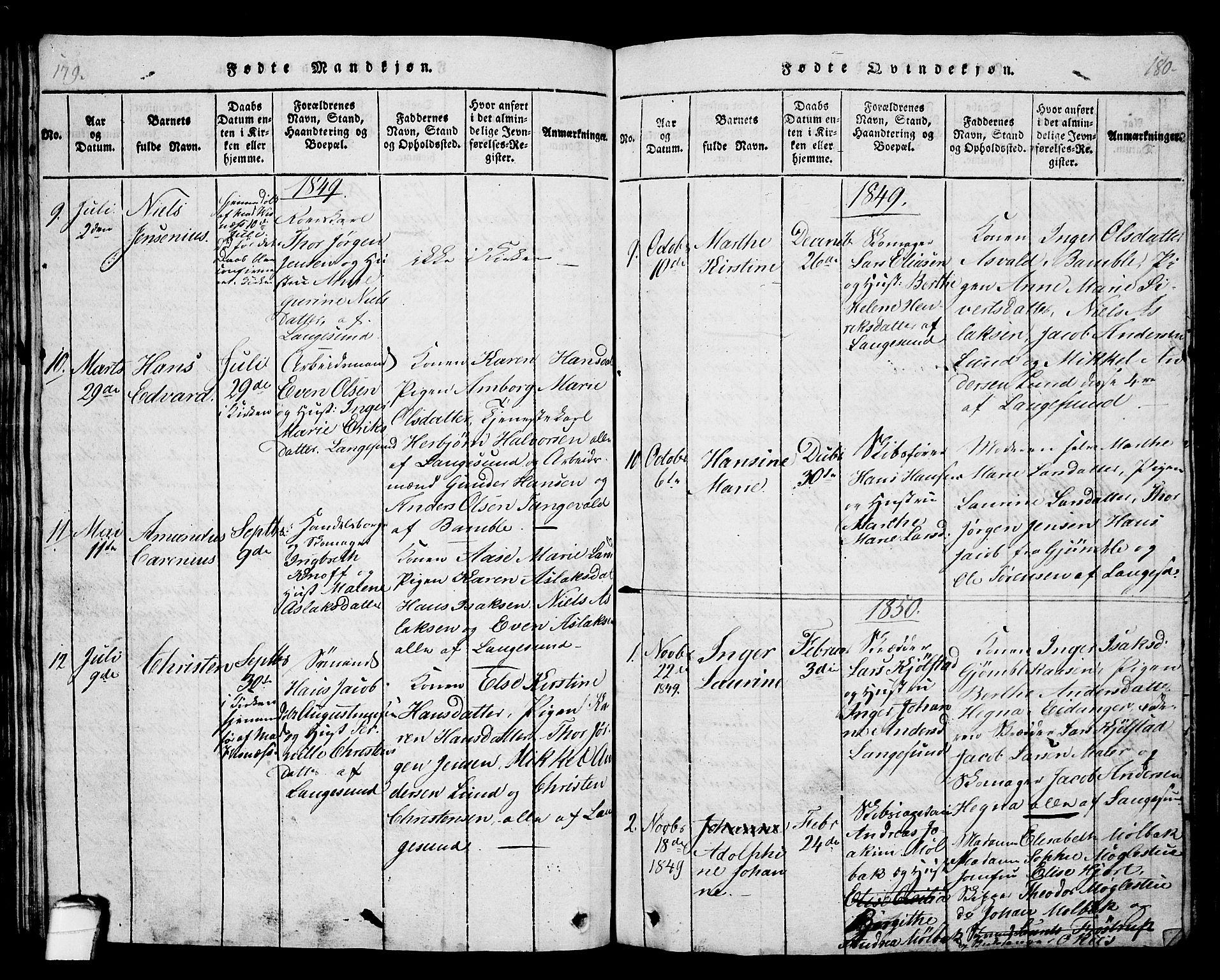 SAKO, Langesund kirkebøker, G/Ga/L0003: Klokkerbok nr. 3, 1815-1858, s. 179-180