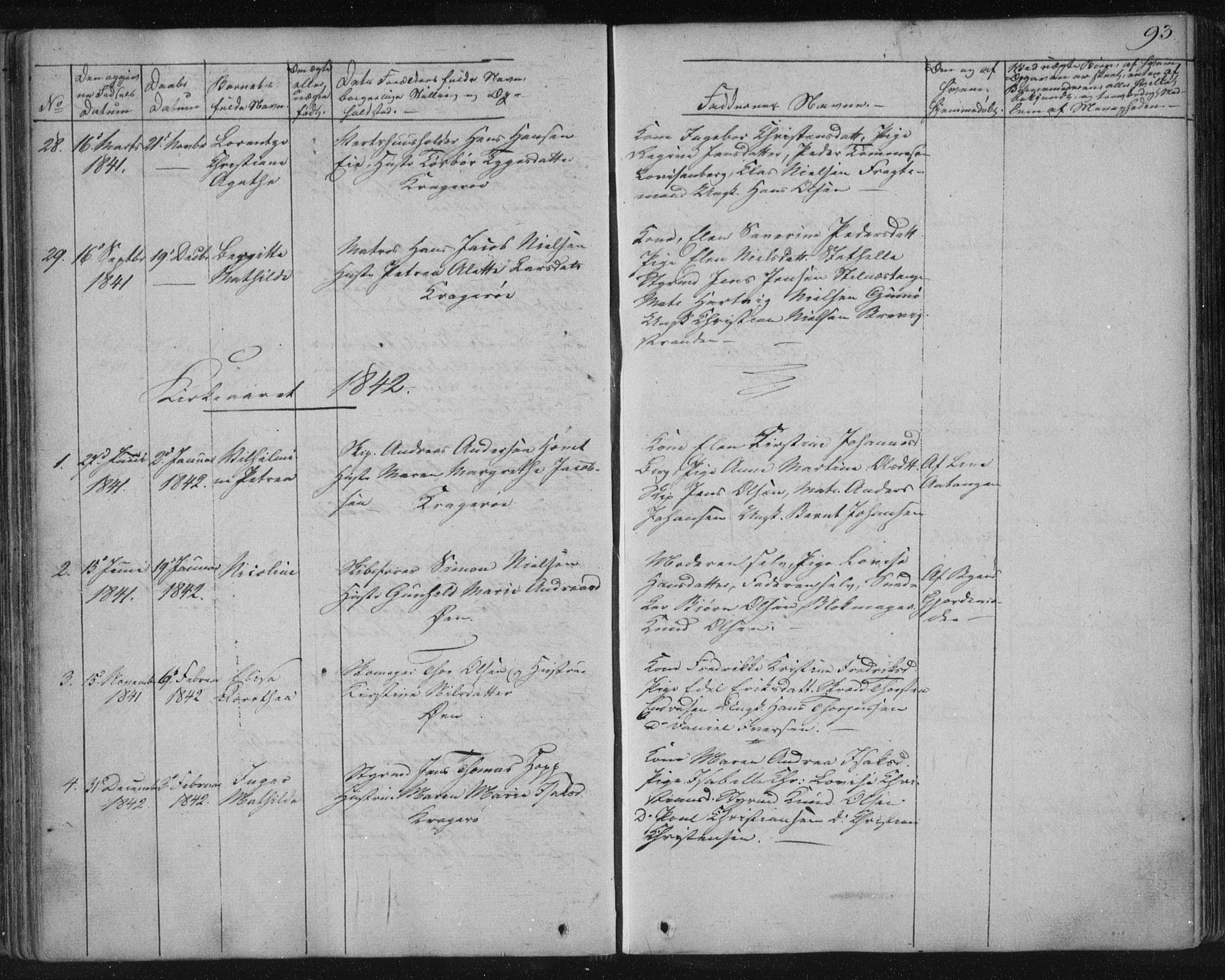 SAKO, Kragerø kirkebøker, F/Fa/L0005: Ministerialbok nr. 5, 1832-1847, s. 93