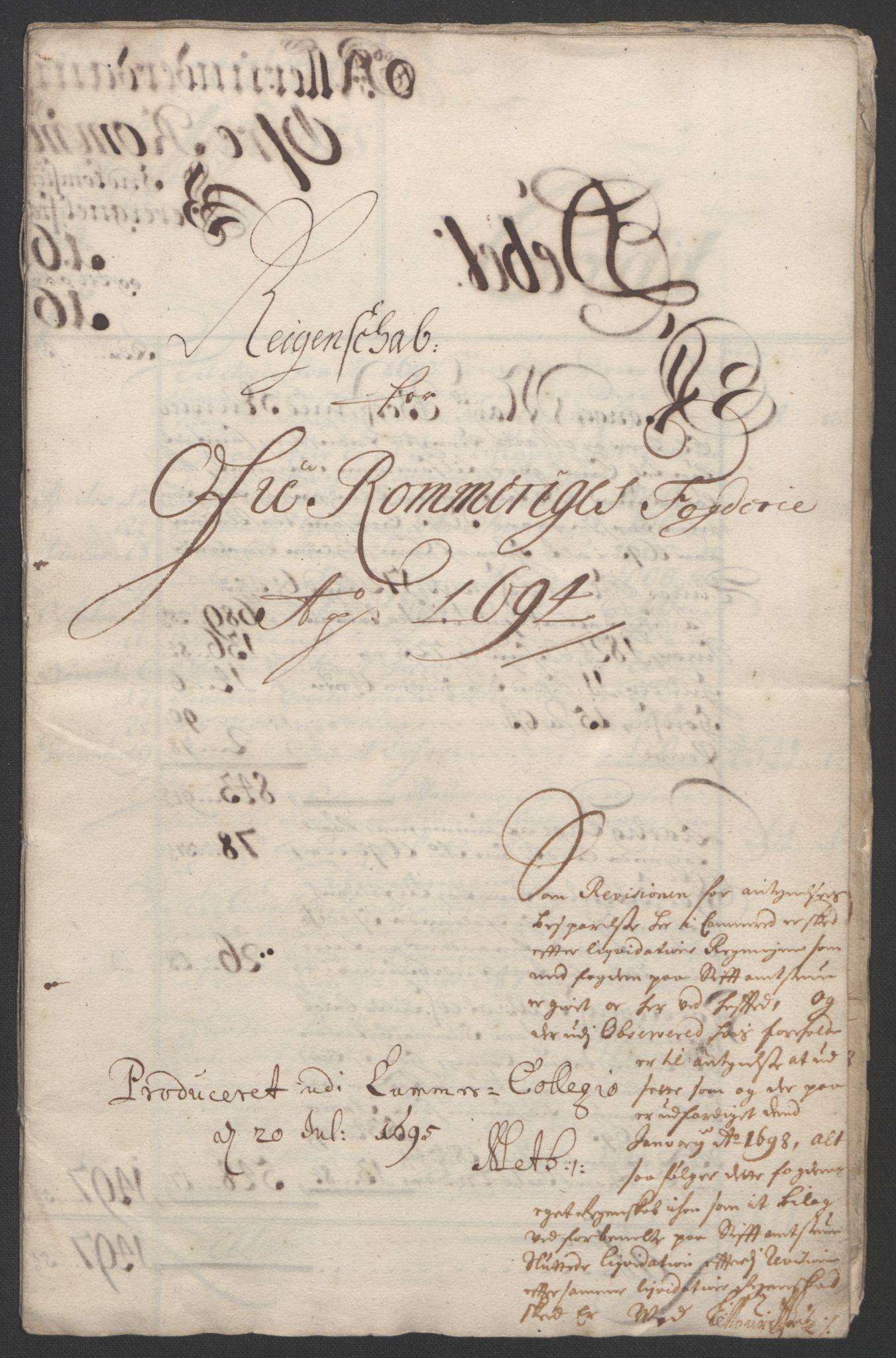 RA, Rentekammeret inntil 1814, Reviderte regnskaper, Fogderegnskap, R12/L0706: Fogderegnskap Øvre Romerike, 1694, s. 5