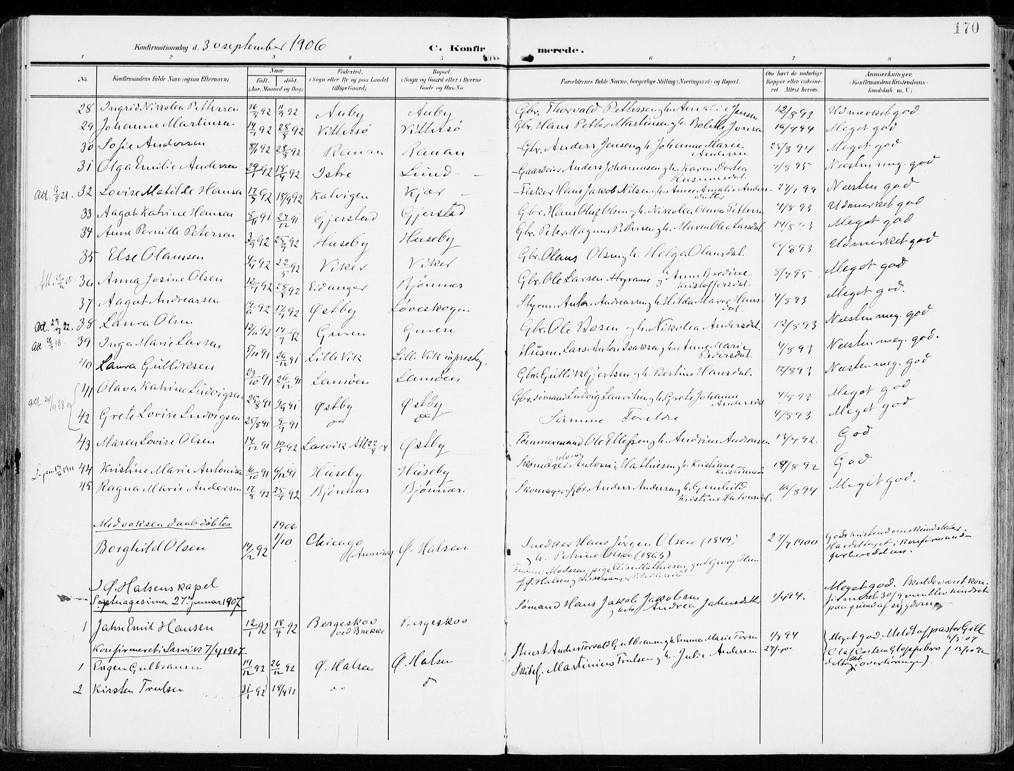SAKO, Tjølling kirkebøker, F/Fa/L0010: Ministerialbok nr. 10, 1906-1923, s. 170