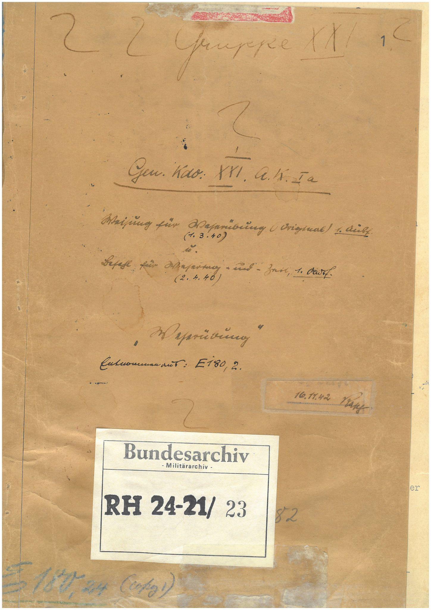 "BARCH, RH 24-21 (XXI. Armeekorps / XXI. Gebirgs-Armeekorps), /23: Weisung für ""Fall Weserübung"", 1940, s. 1"