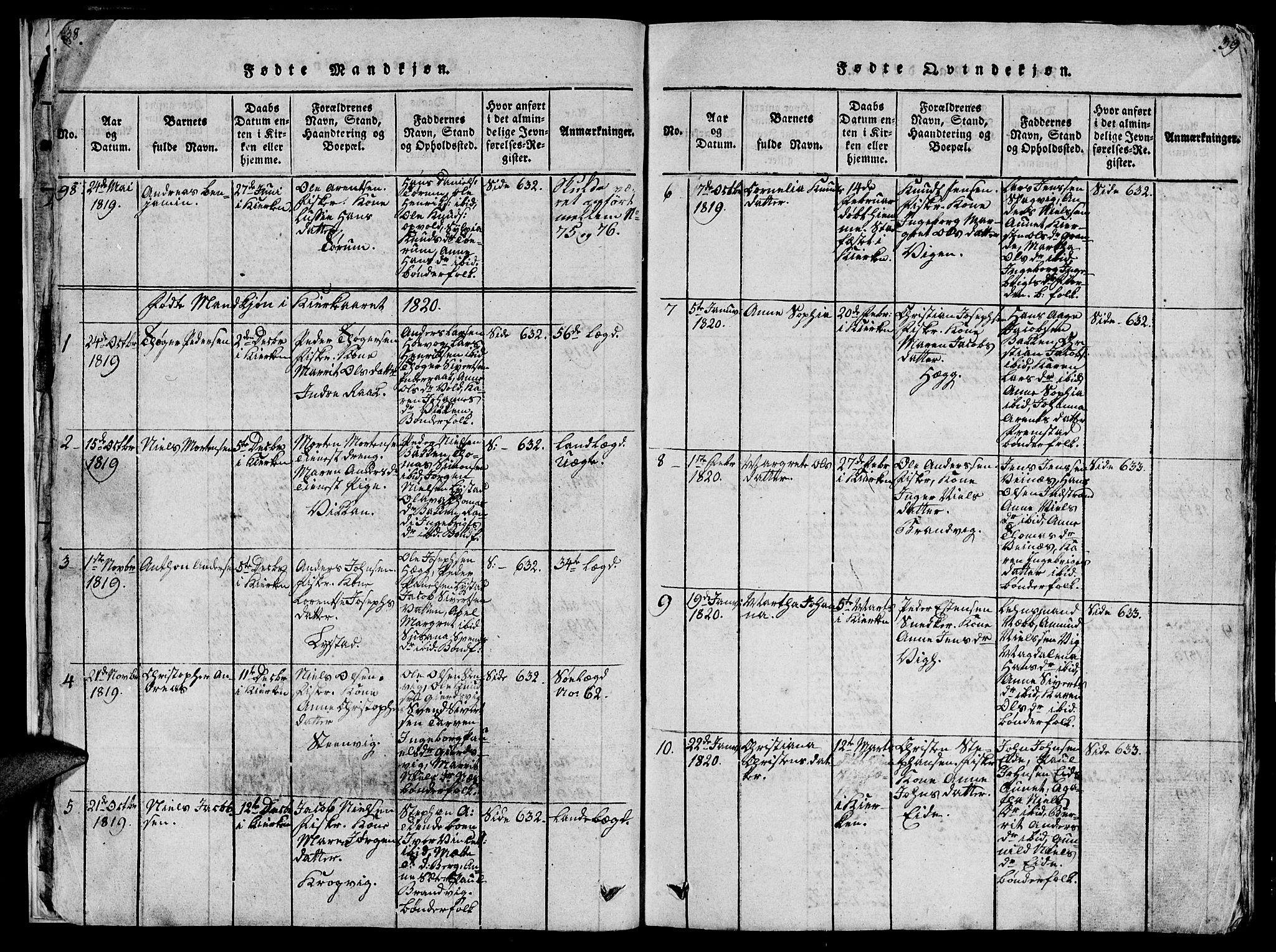 SAT, Ministerialprotokoller, klokkerbøker og fødselsregistre - Sør-Trøndelag, 659/L0744: Klokkerbok nr. 659C01, 1818-1825, s. 38-39