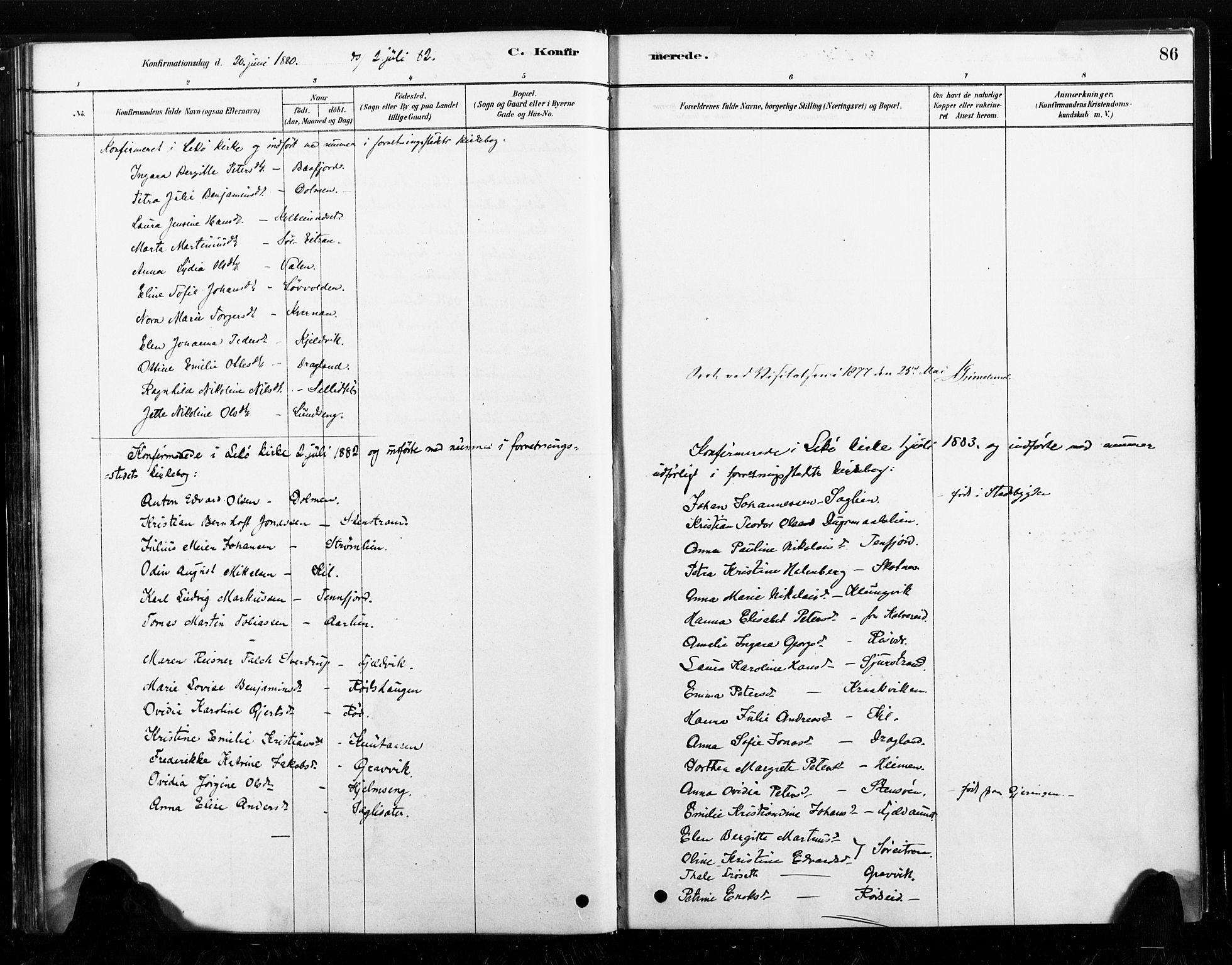 SAT, Ministerialprotokoller, klokkerbøker og fødselsregistre - Nord-Trøndelag, 789/L0705: Ministerialbok nr. 789A01, 1878-1910, s. 86