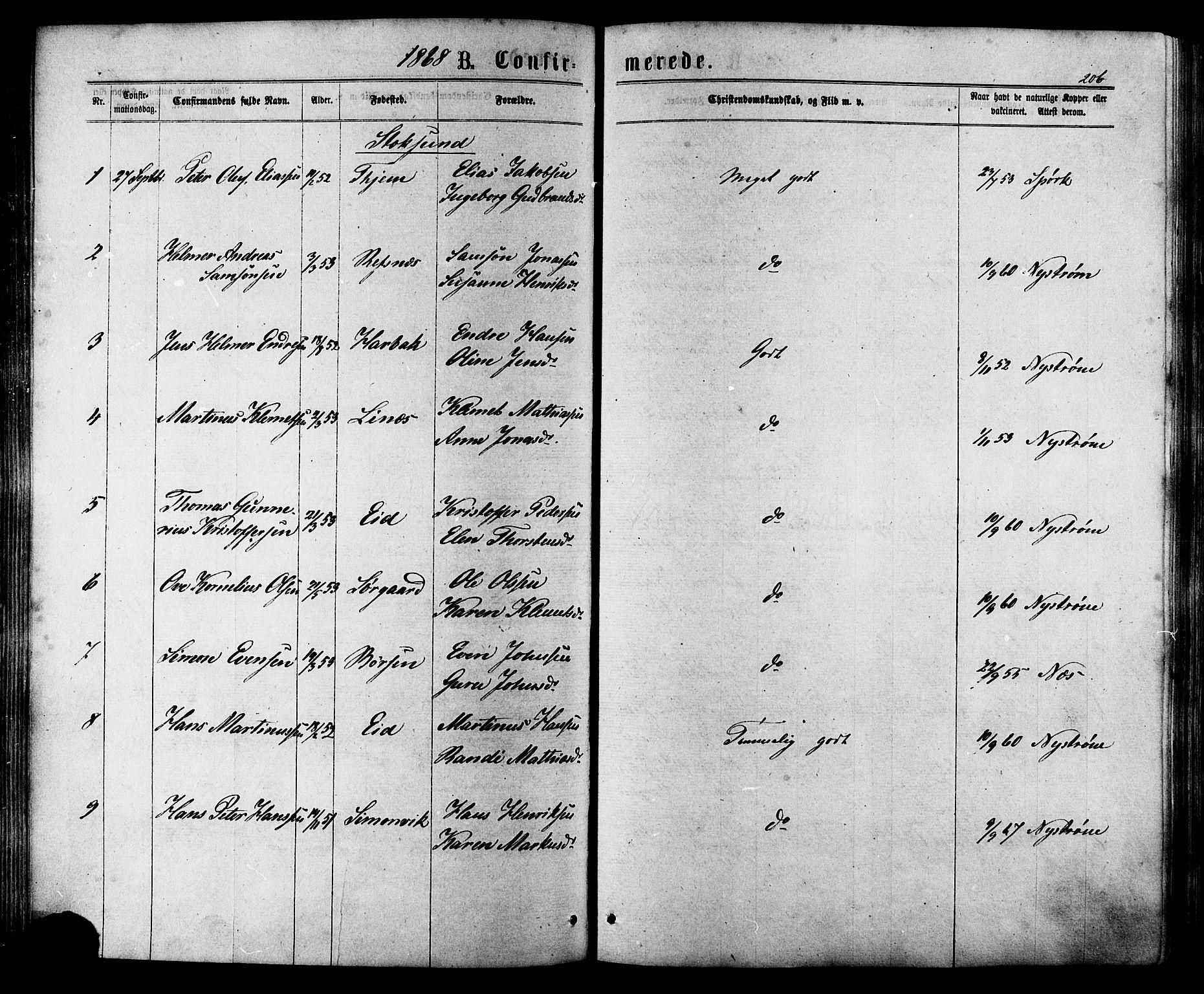 SAT, Ministerialprotokoller, klokkerbøker og fødselsregistre - Sør-Trøndelag, 657/L0706: Ministerialbok nr. 657A07, 1867-1878, s. 206