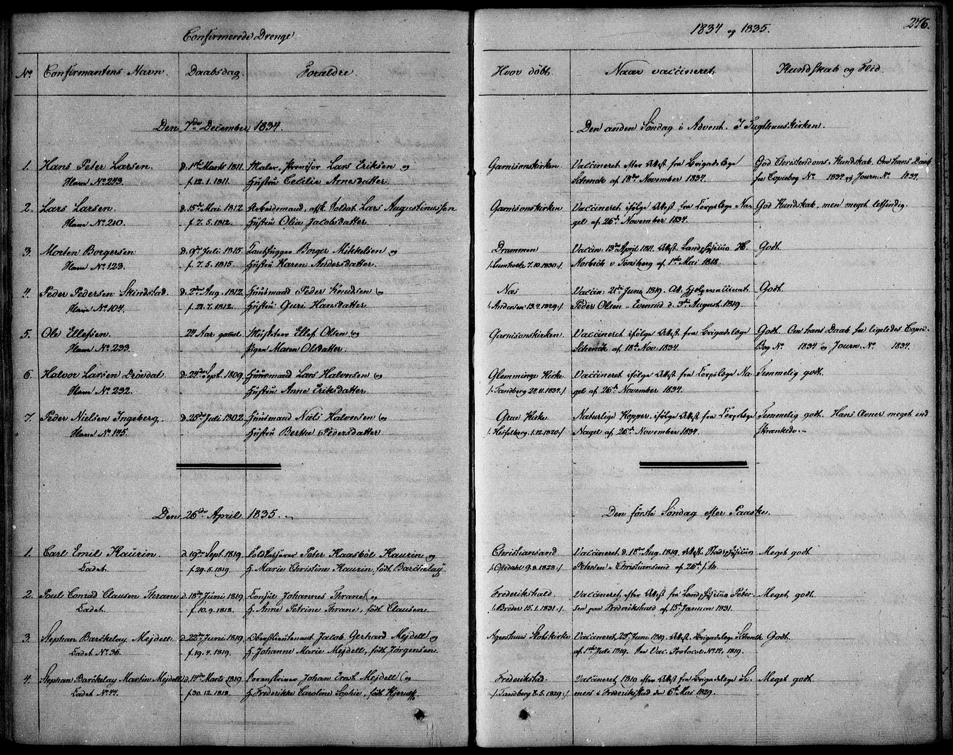 SAO, Garnisonsmenigheten Kirkebøker, F/Fa/L0006: Ministerialbok nr. 6, 1828-1841, s. 276