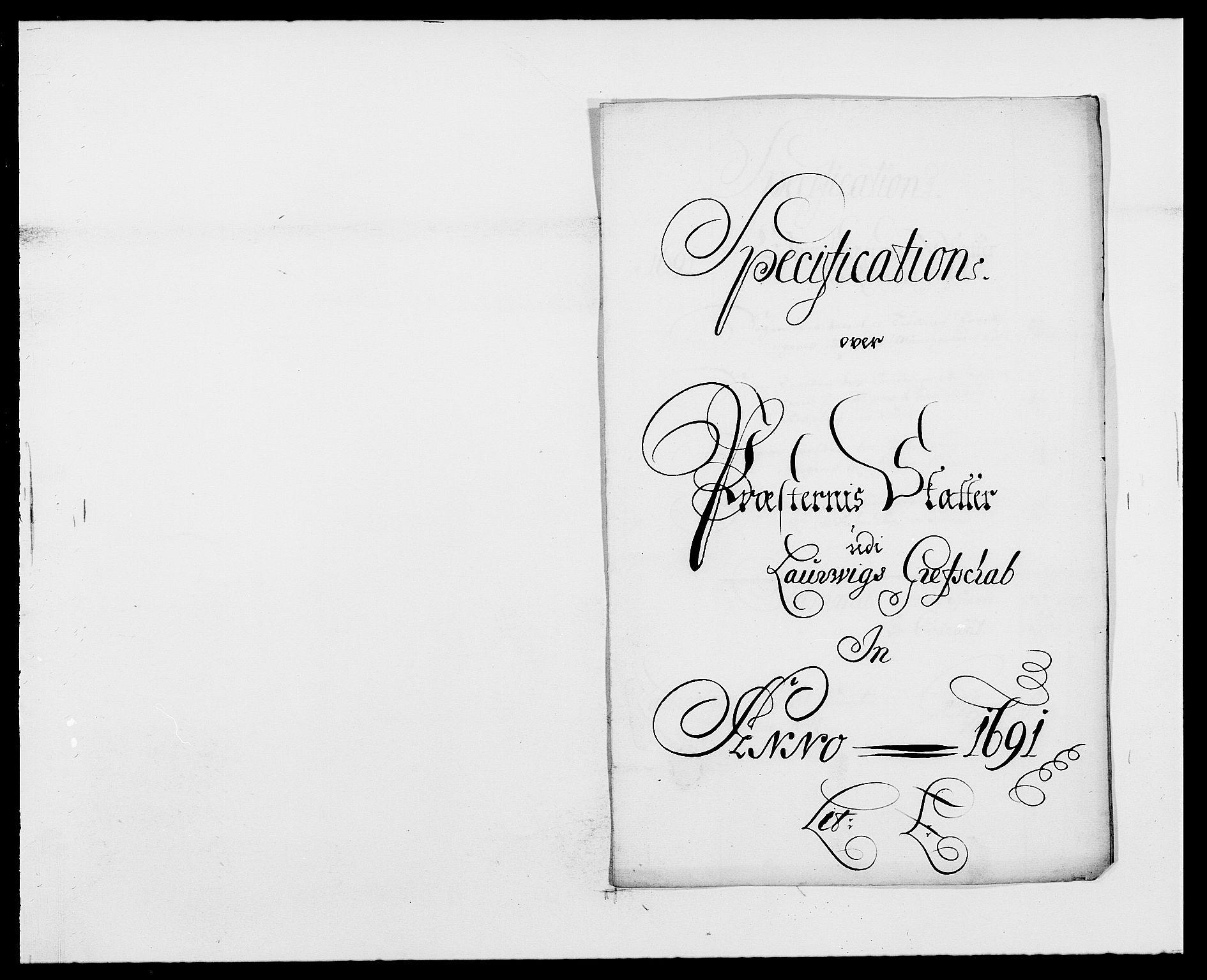 RA, Rentekammeret inntil 1814, Reviderte regnskaper, Fogderegnskap, R33/L1972: Fogderegnskap Larvik grevskap, 1690-1691, s. 351
