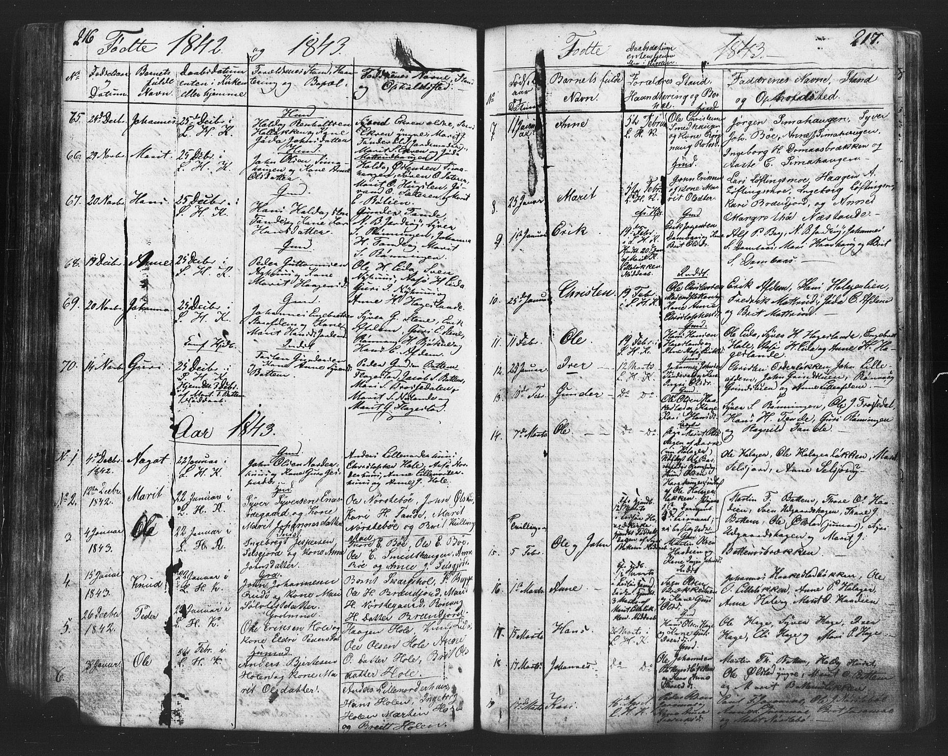 SAH, Lesja prestekontor, Klokkerbok nr. 2, 1832-1850, s. 216-217