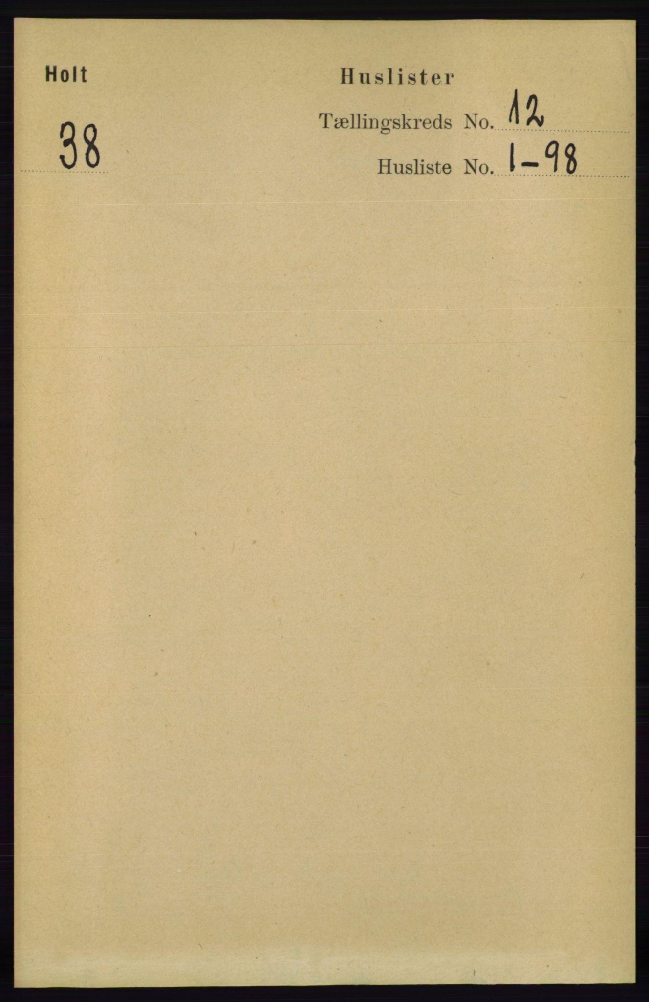 RA, Folketelling 1891 for 0914 Holt herred, 1891, s. 4957