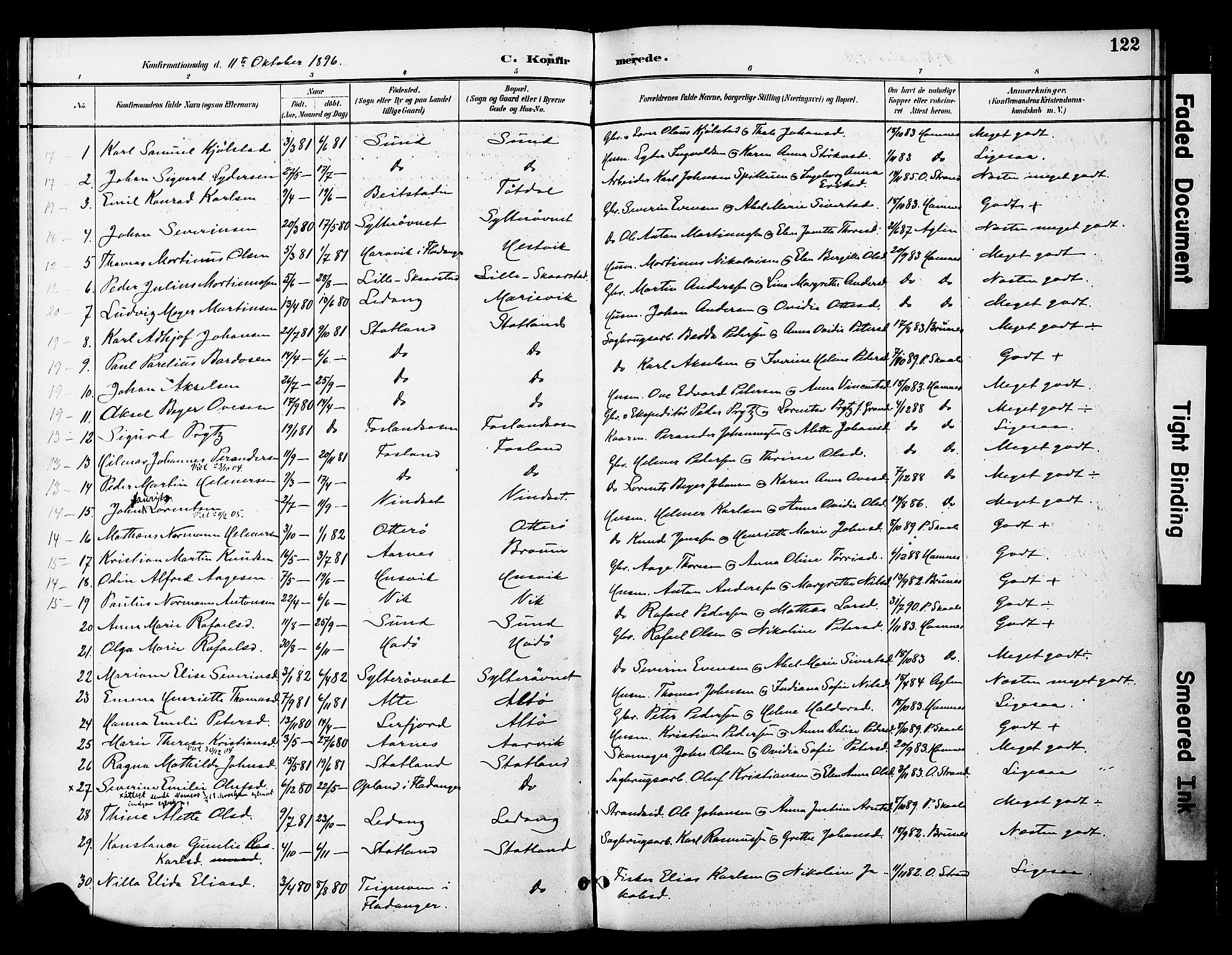 SAT, Ministerialprotokoller, klokkerbøker og fødselsregistre - Nord-Trøndelag, 774/L0628: Ministerialbok nr. 774A02, 1887-1903, s. 122