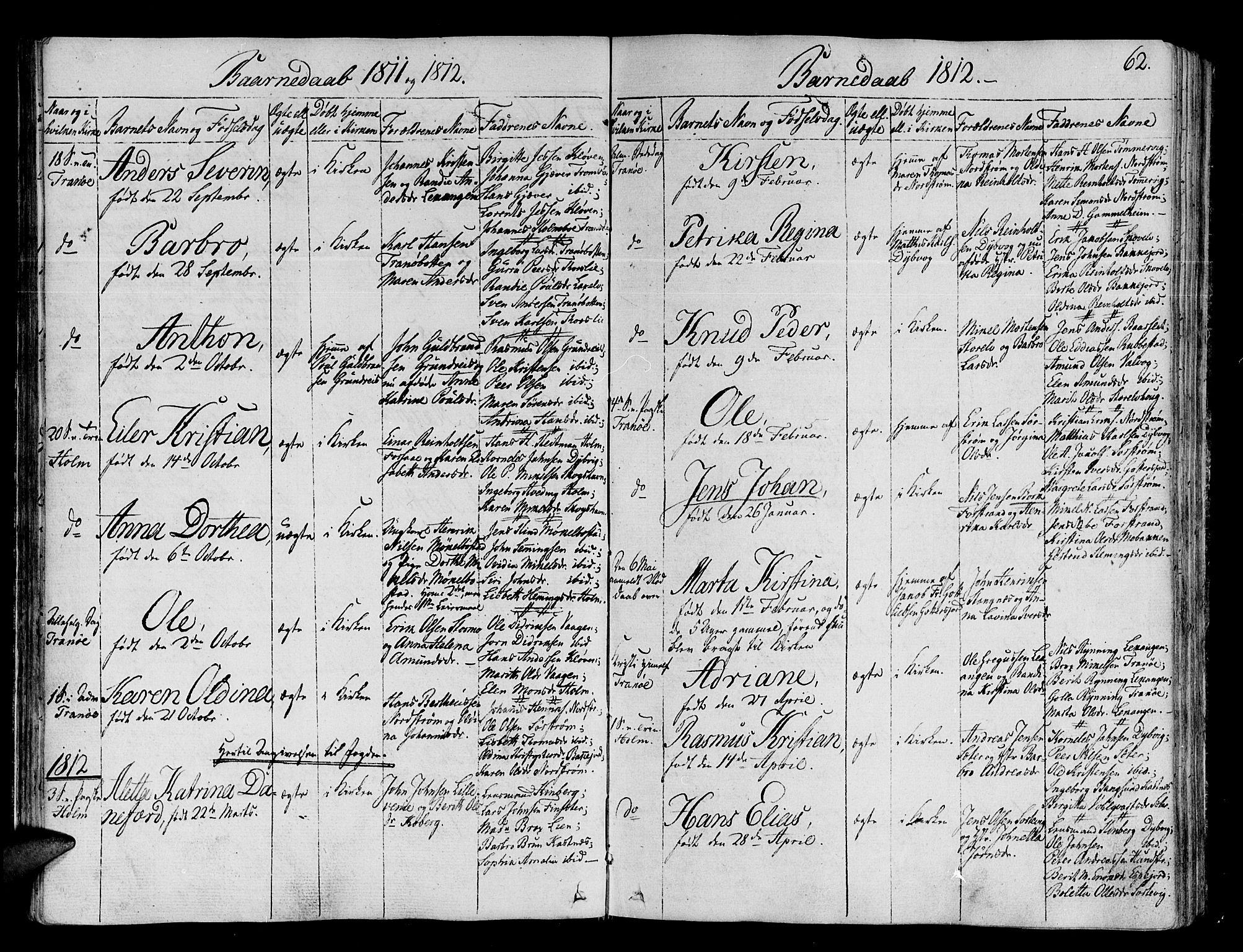 SATØ, Tranøy sokneprestkontor, I/Ia/Iaa/L0003kirke: Ministerialbok nr. 3, 1807-1820, s. 62