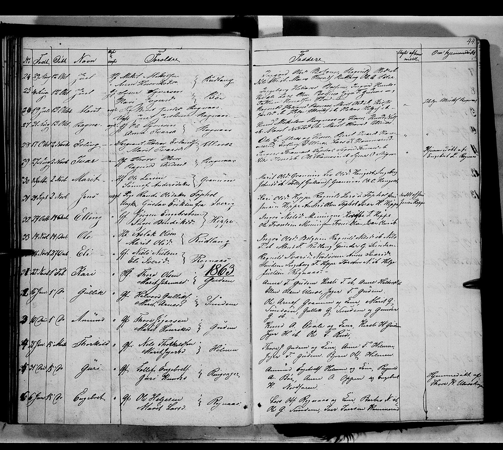 SAH, Nord-Aurdal prestekontor, Ministerialbok nr. 6, 1842-1863, s. 44