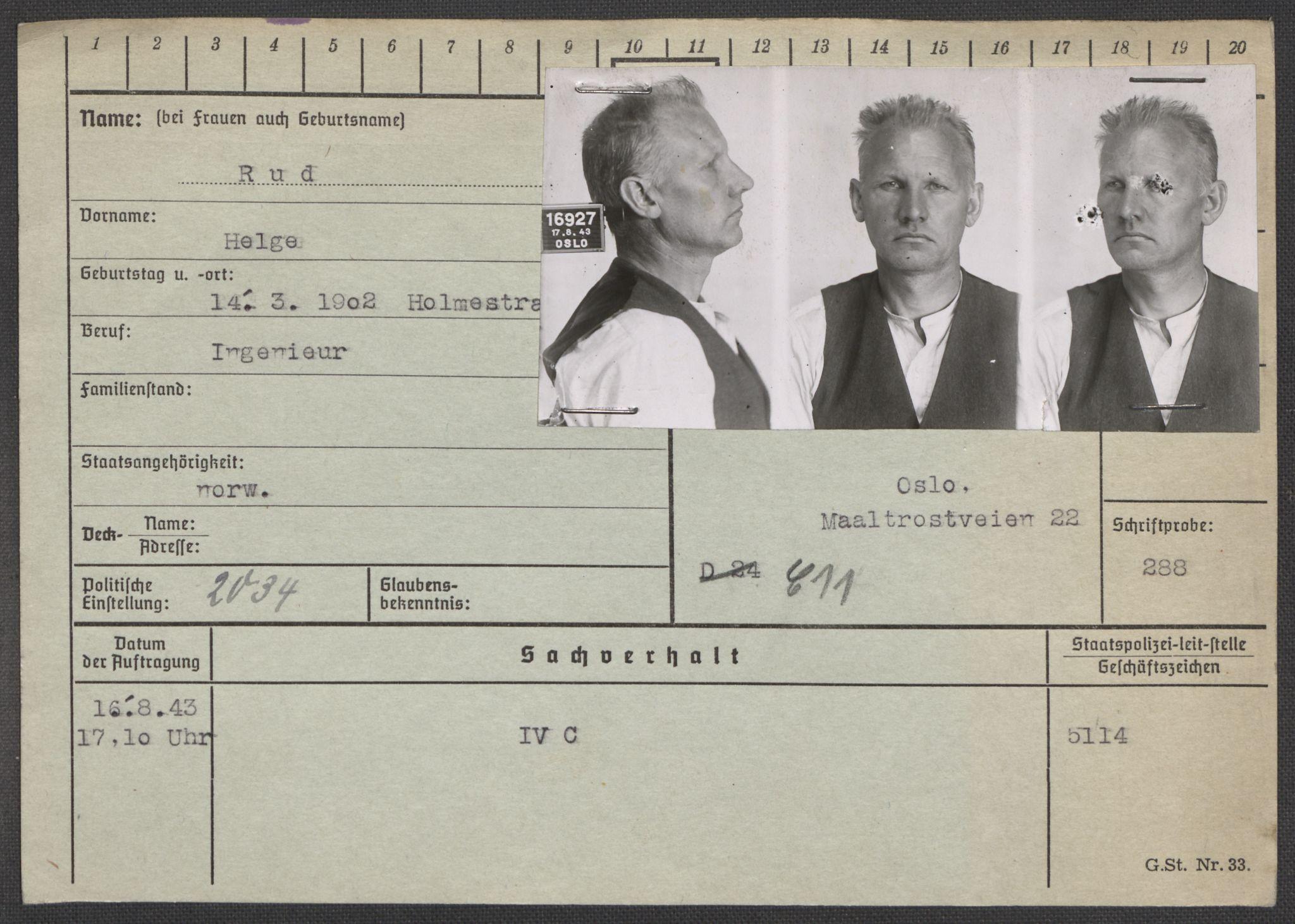 RA, Befehlshaber der Sicherheitspolizei und des SD, E/Ea/Eaa/L0009: Register over norske fanger i Møllergata 19: Ru-Sy, 1940-1945, s. 4