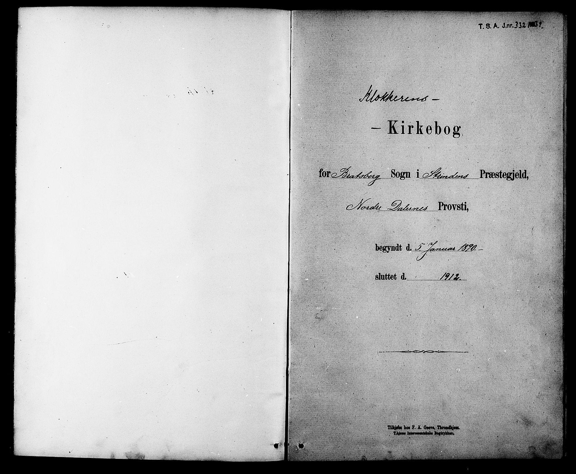 SAT, Ministerialprotokoller, klokkerbøker og fødselsregistre - Sør-Trøndelag, 608/L0341: Klokkerbok nr. 608C07, 1890-1912