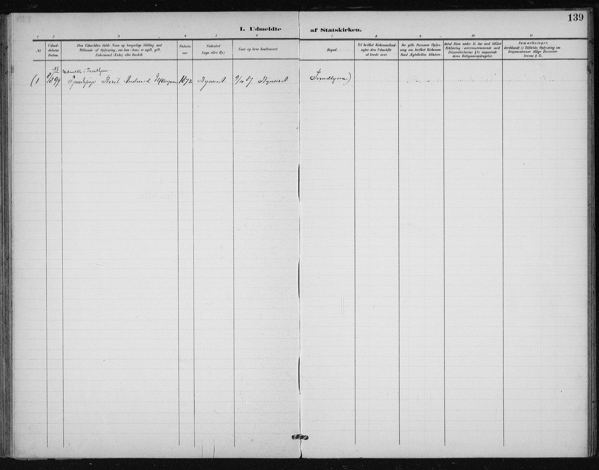 SAT, Ministerialprotokoller, klokkerbøker og fødselsregistre - Sør-Trøndelag, 612/L0380: Ministerialbok nr. 612A12, 1898-1907, s. 139