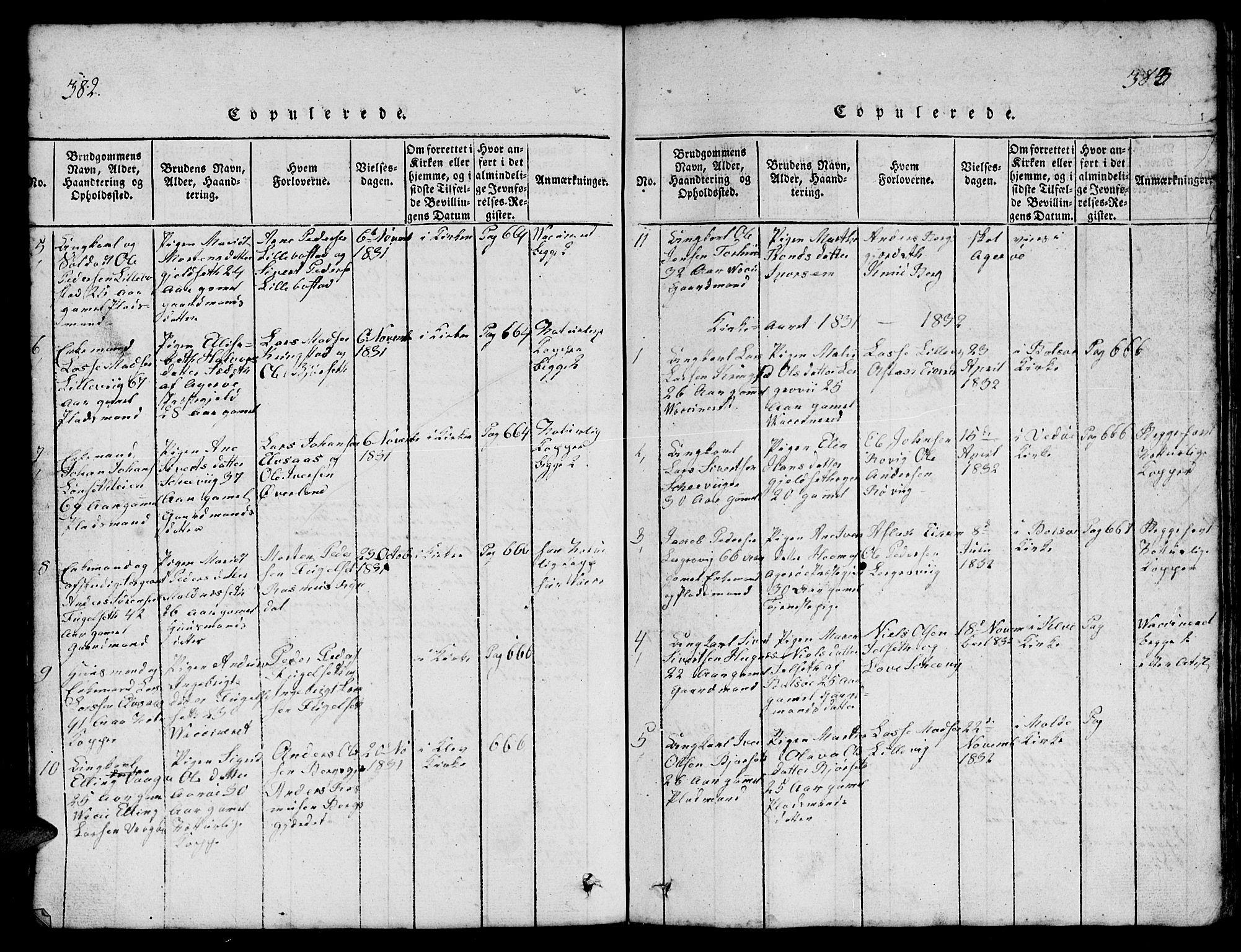 SAT, Ministerialprotokoller, klokkerbøker og fødselsregistre - Møre og Romsdal, 555/L0665: Klokkerbok nr. 555C01, 1818-1868, s. 382-383