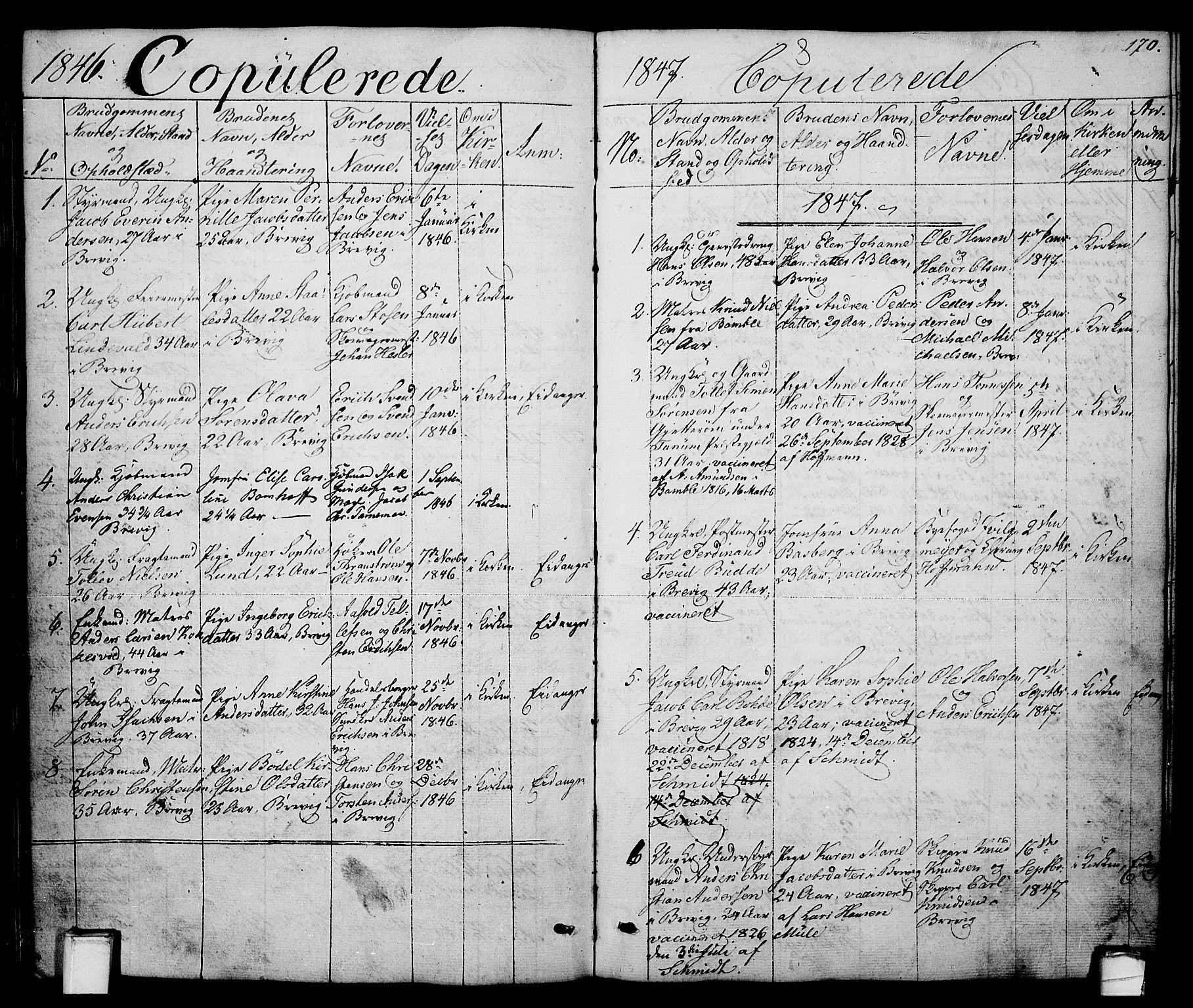 SAKO, Brevik kirkebøker, G/Ga/L0002: Klokkerbok nr. 2, 1846-1865, s. 170