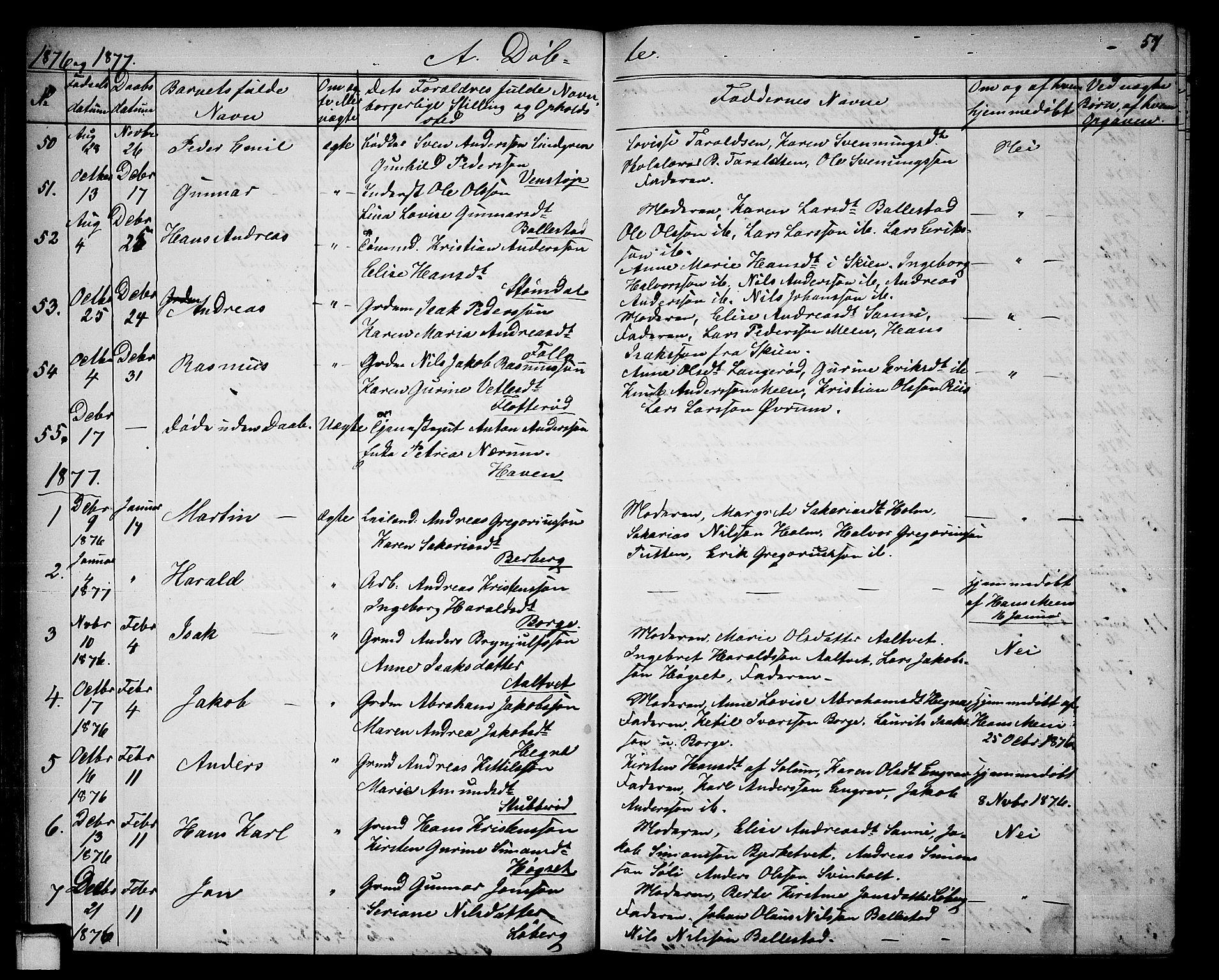 SAKO, Gjerpen kirkebøker, G/Ga/L0001: Klokkerbok nr. I 1, 1864-1882, s. 57
