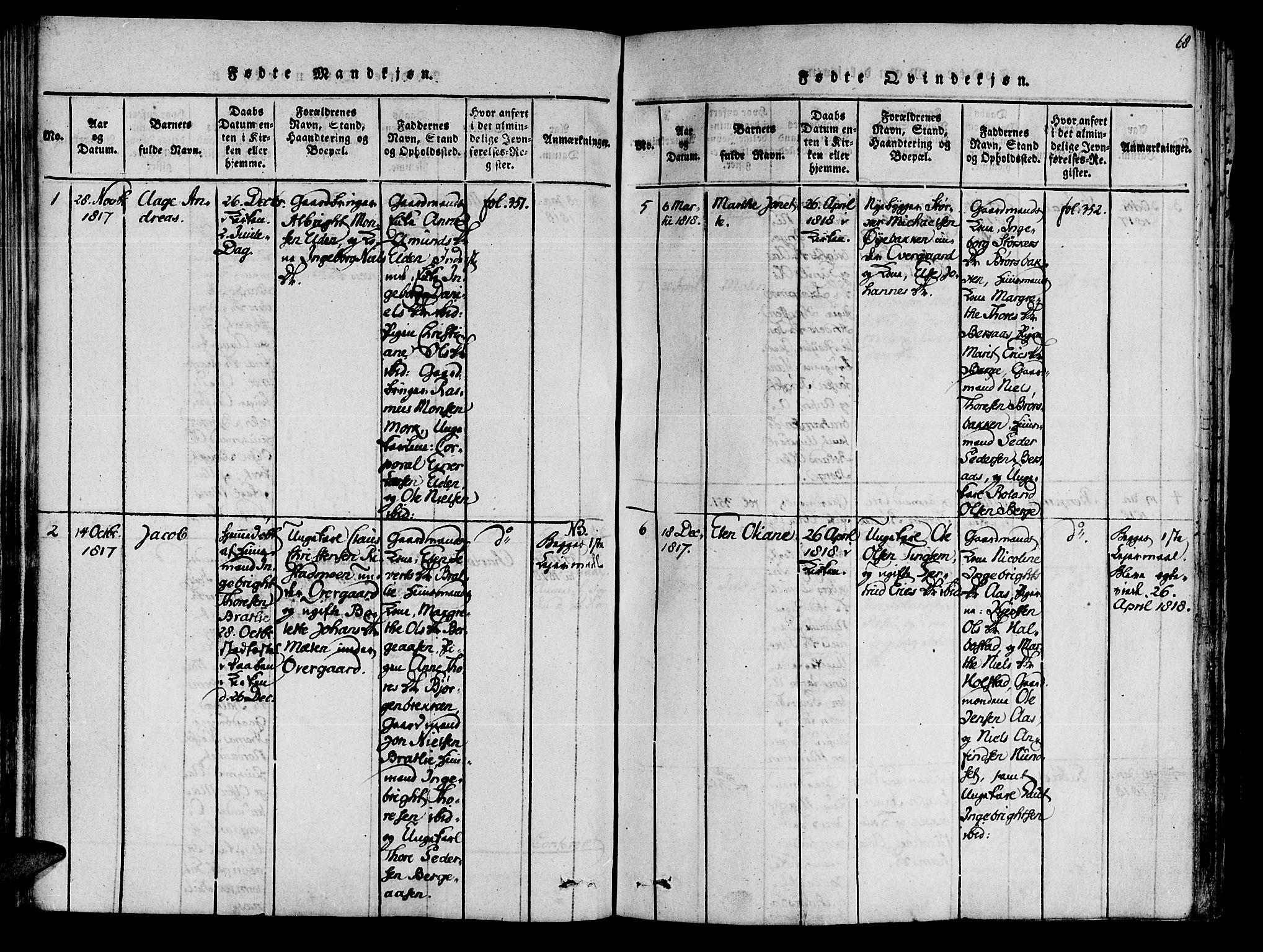 SAT, Ministerialprotokoller, klokkerbøker og fødselsregistre - Nord-Trøndelag, 741/L0387: Ministerialbok nr. 741A03 /3, 1817-1822, s. 68