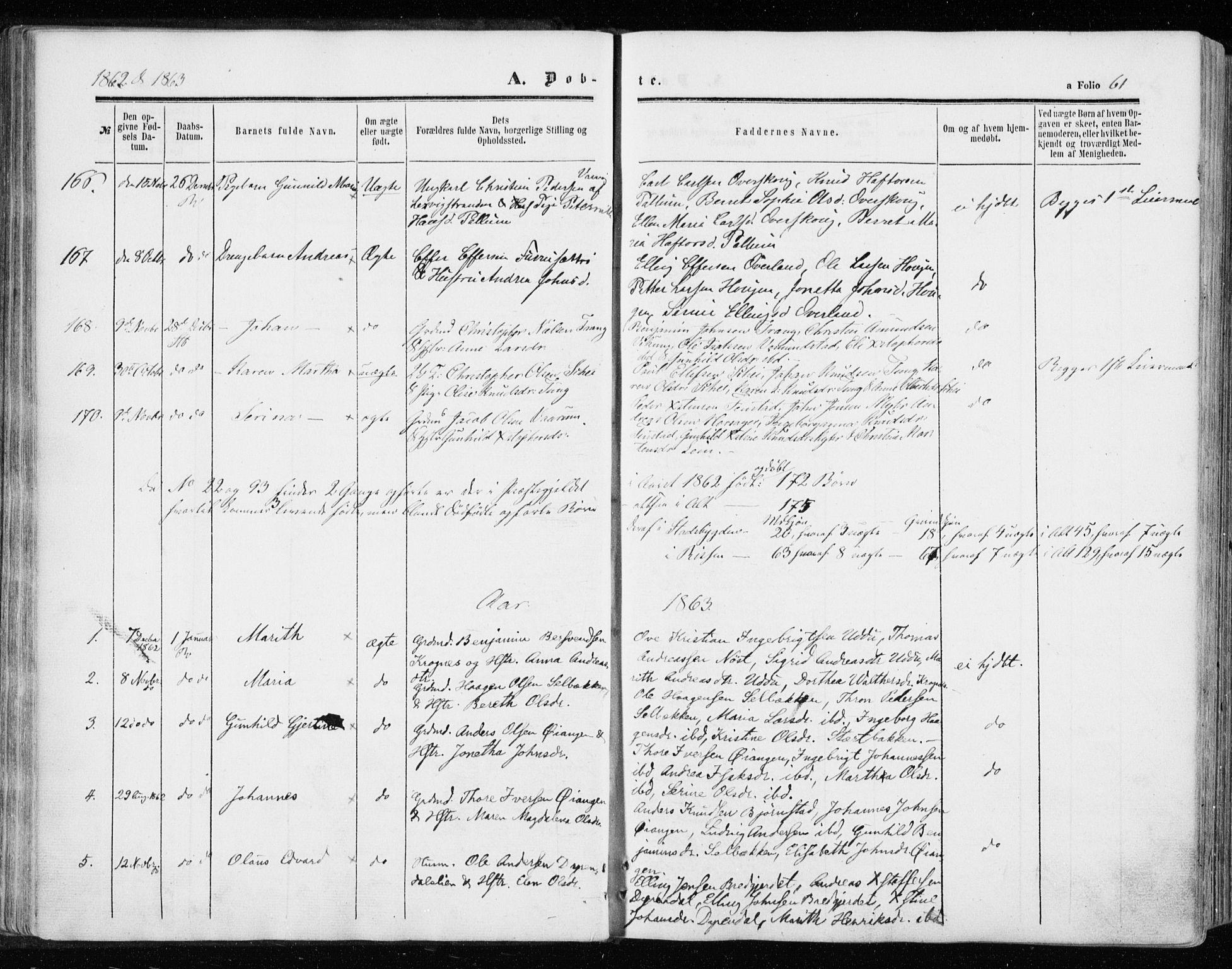 SAT, Ministerialprotokoller, klokkerbøker og fødselsregistre - Sør-Trøndelag, 646/L0612: Ministerialbok nr. 646A10, 1858-1869, s. 61