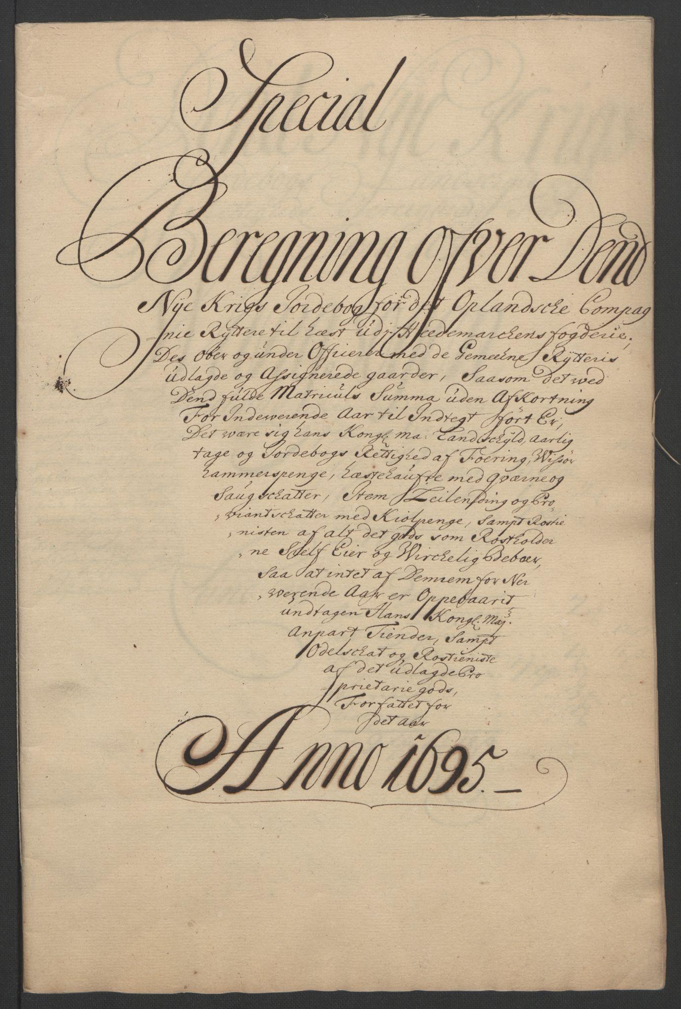 RA, Rentekammeret inntil 1814, Reviderte regnskaper, Fogderegnskap, R16/L1036: Fogderegnskap Hedmark, 1695-1696, s. 120