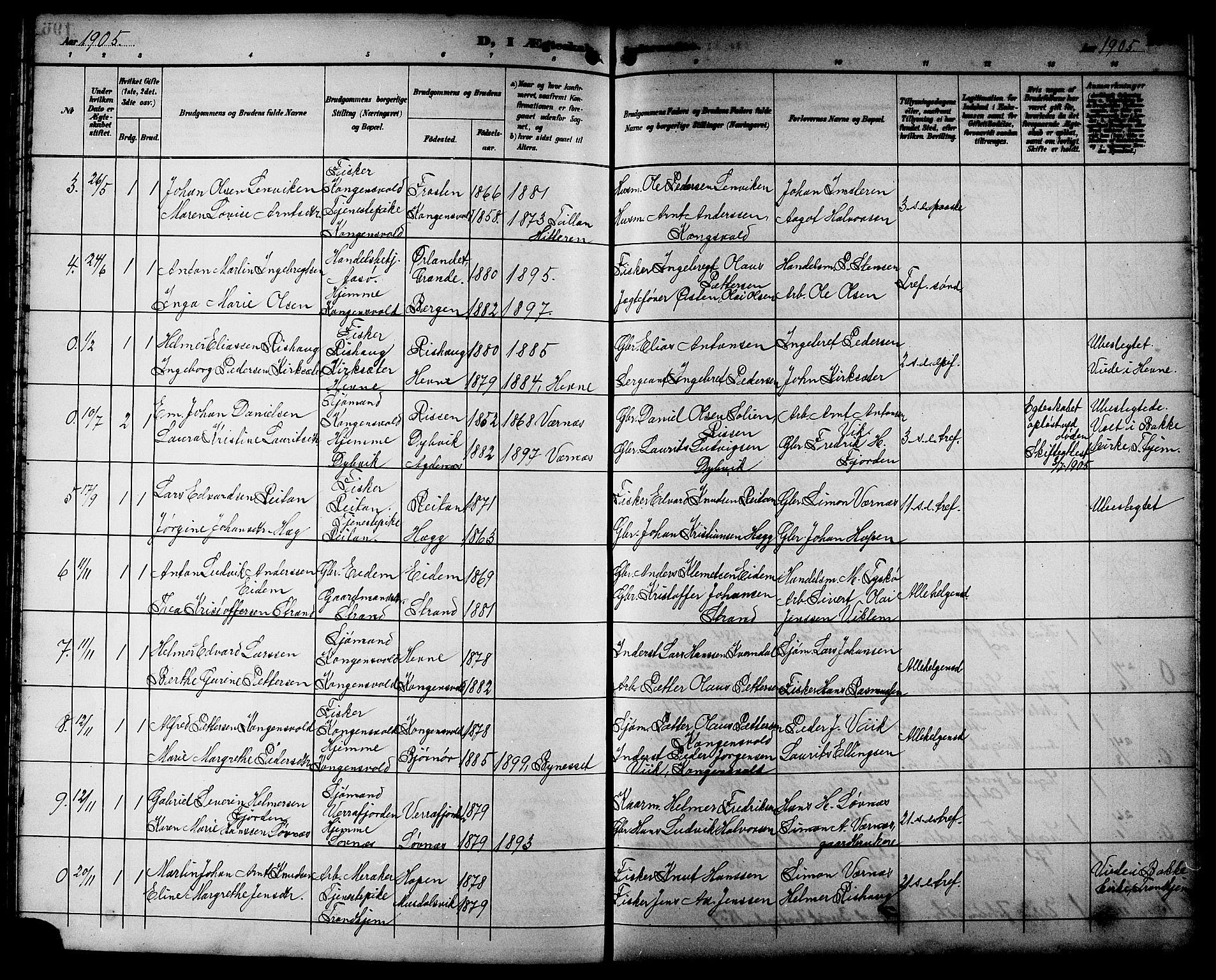 SAT, Ministerialprotokoller, klokkerbøker og fødselsregistre - Sør-Trøndelag, 662/L0757: Klokkerbok nr. 662C02, 1892-1918, s. 197