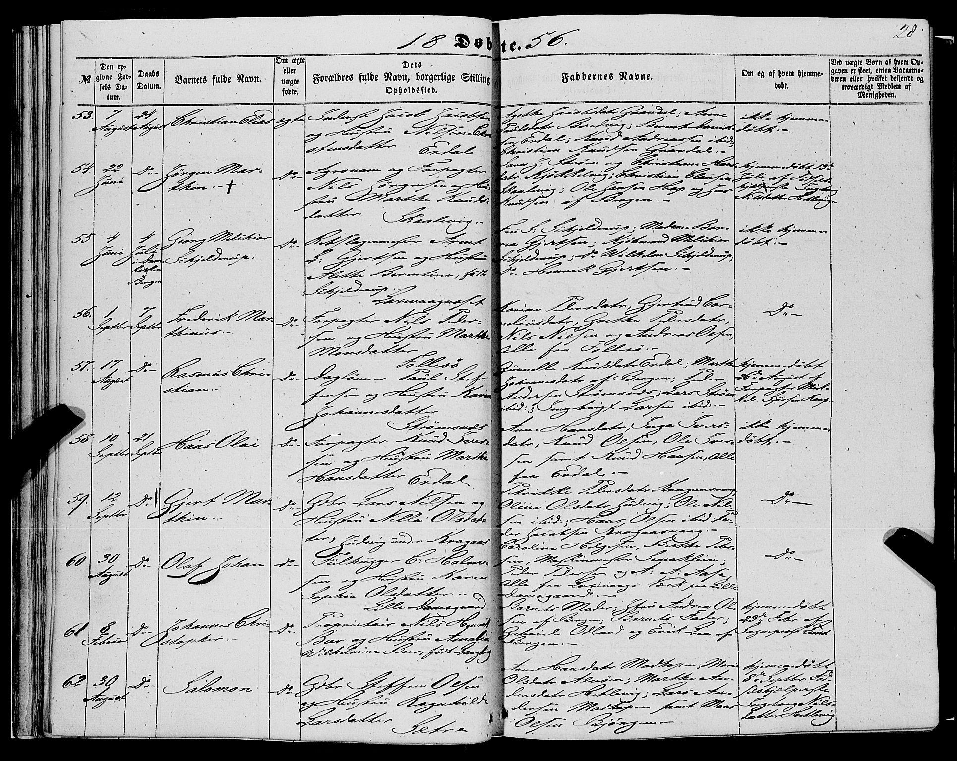 SAB, Askøy Sokneprestembete, H: Ministerialbok nr. A 8, 1852-1862, s. 28
