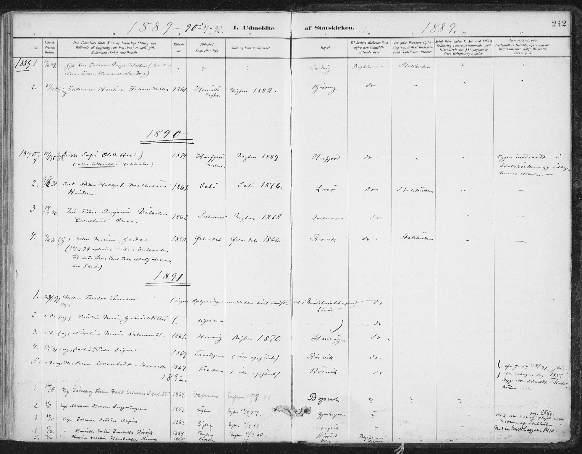 SAT, Ministerialprotokoller, klokkerbøker og fødselsregistre - Nord-Trøndelag, 786/L0687: Ministerialbok nr. 786A03, 1888-1898, s. 242