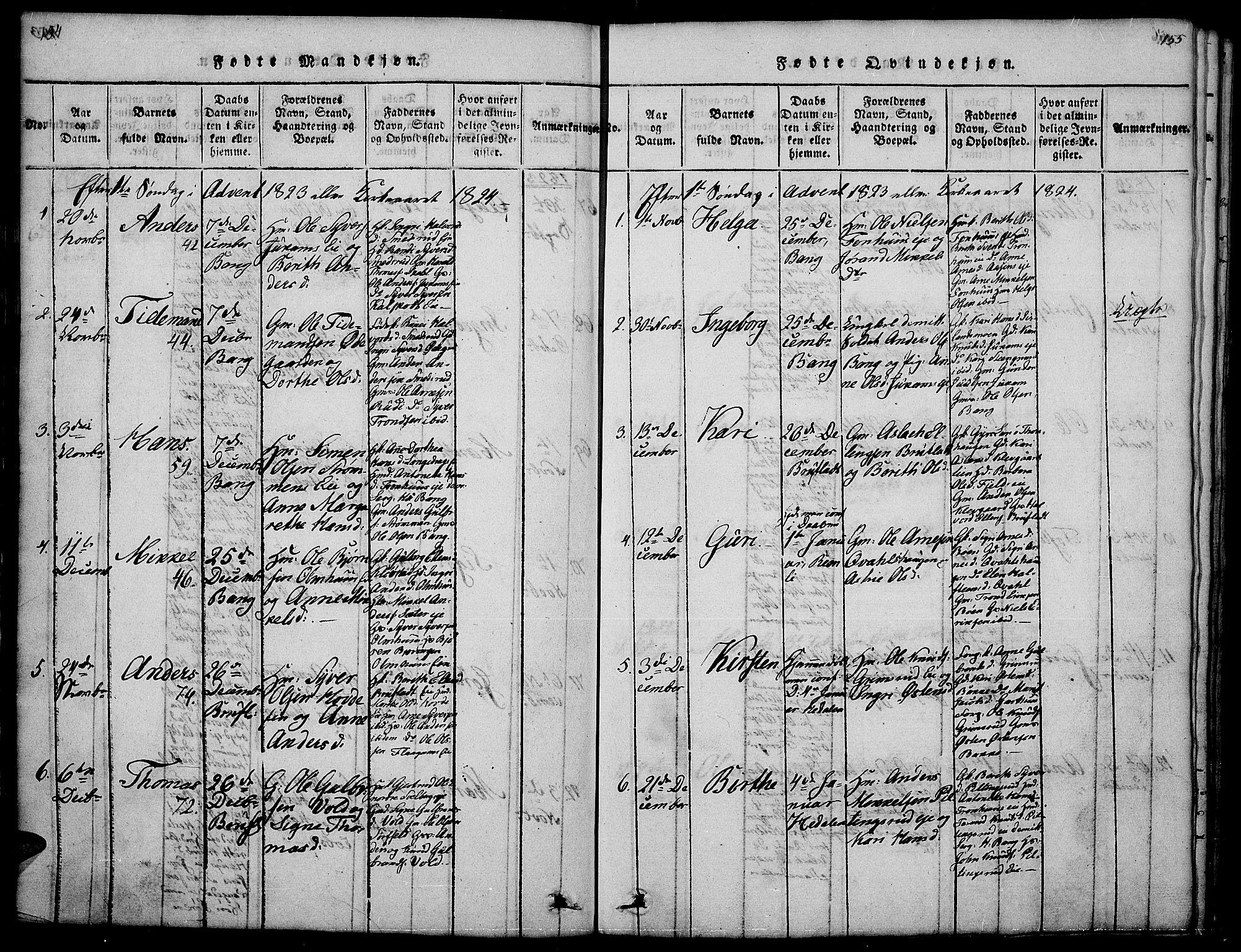SAH, Sør-Aurdal prestekontor, Klokkerbok nr. 1, 1815-1826, s. 154-155