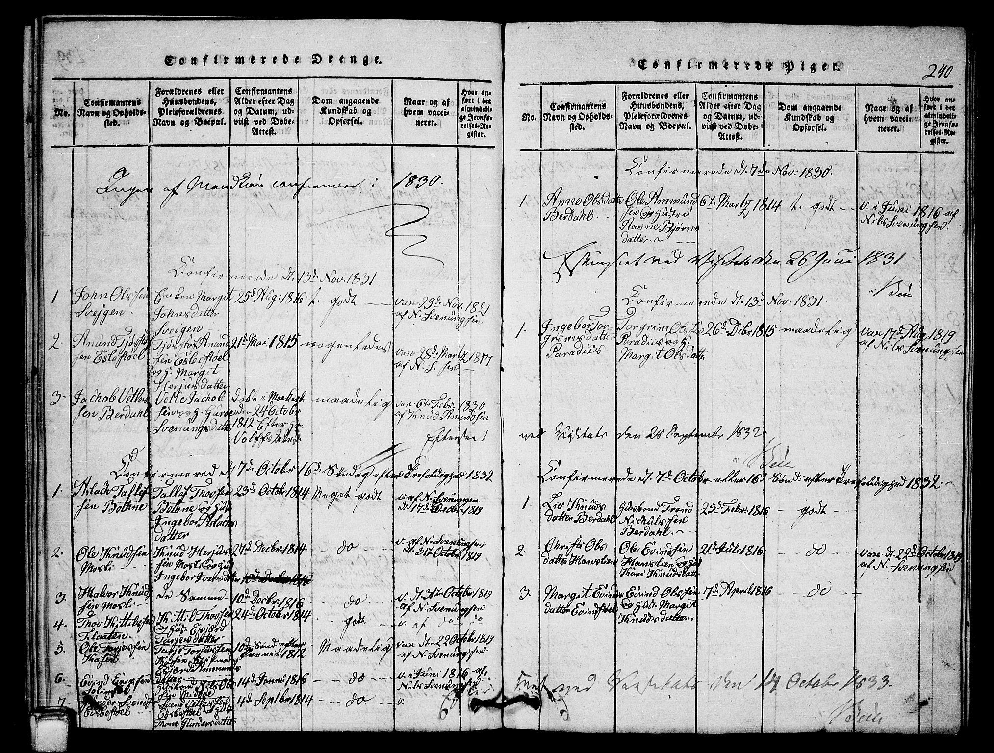SAKO, Vinje kirkebøker, G/Gb/L0001: Klokkerbok nr. II 1, 1814-1843, s. 240