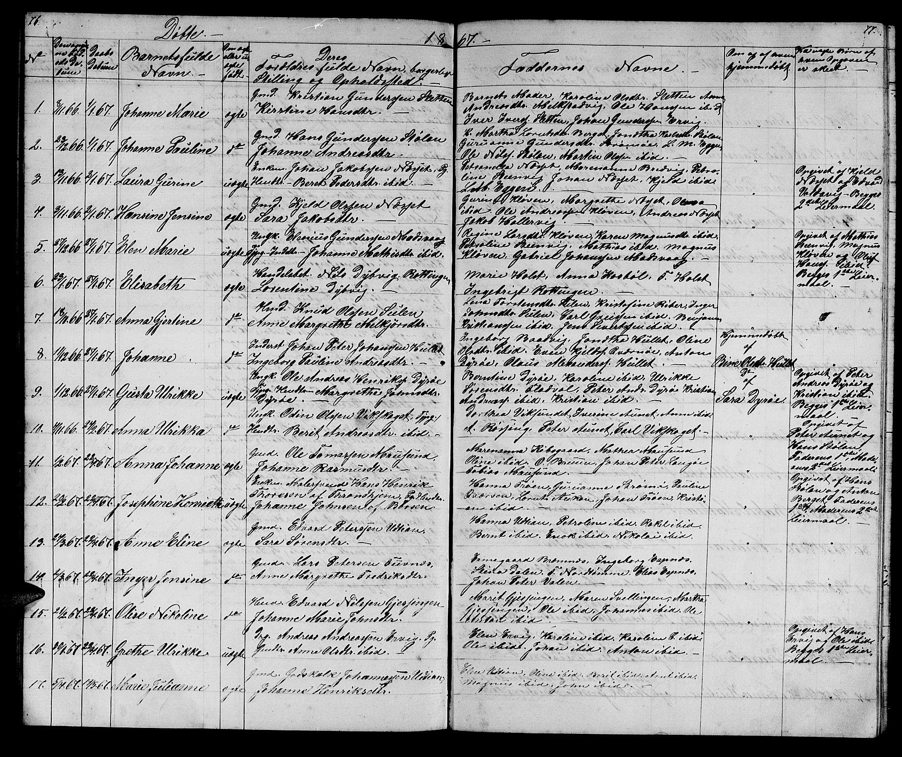 SAT, Ministerialprotokoller, klokkerbøker og fødselsregistre - Sør-Trøndelag, 640/L0583: Klokkerbok nr. 640C01, 1866-1877, s. 76-77
