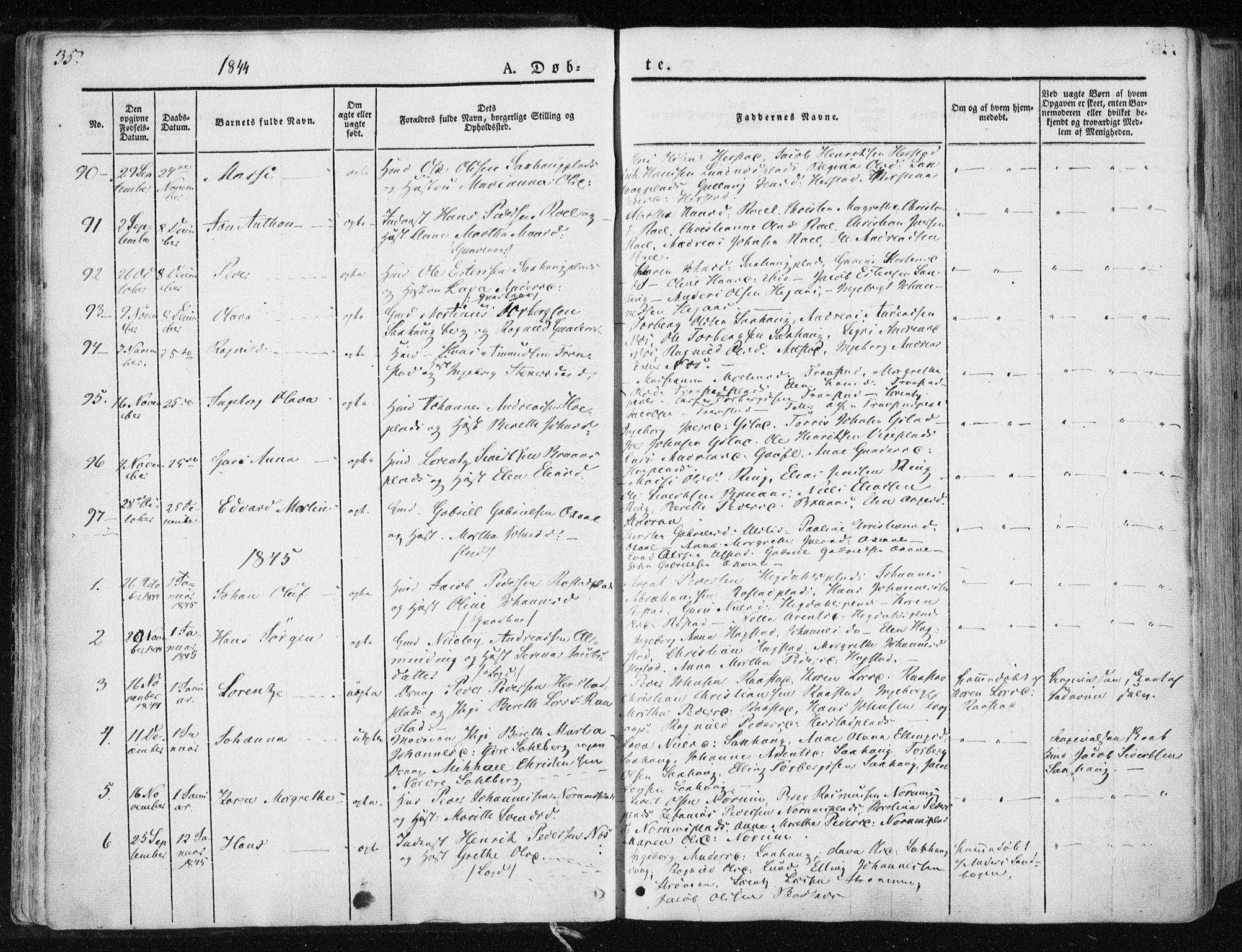 SAT, Ministerialprotokoller, klokkerbøker og fødselsregistre - Nord-Trøndelag, 730/L0280: Ministerialbok nr. 730A07 /1, 1840-1854, s. 35