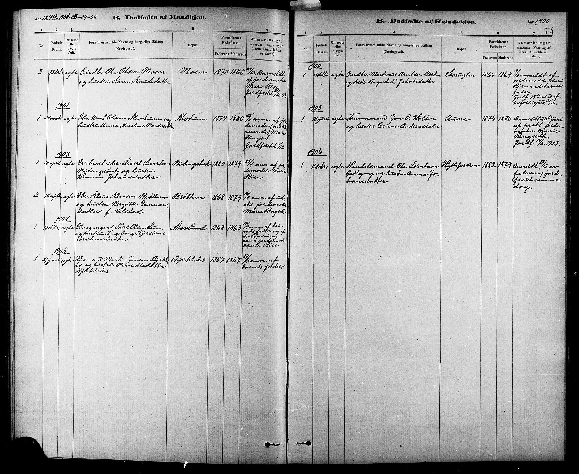 SAT, Ministerialprotokoller, klokkerbøker og fødselsregistre - Sør-Trøndelag, 618/L0452: Klokkerbok nr. 618C03, 1884-1906, s. 74