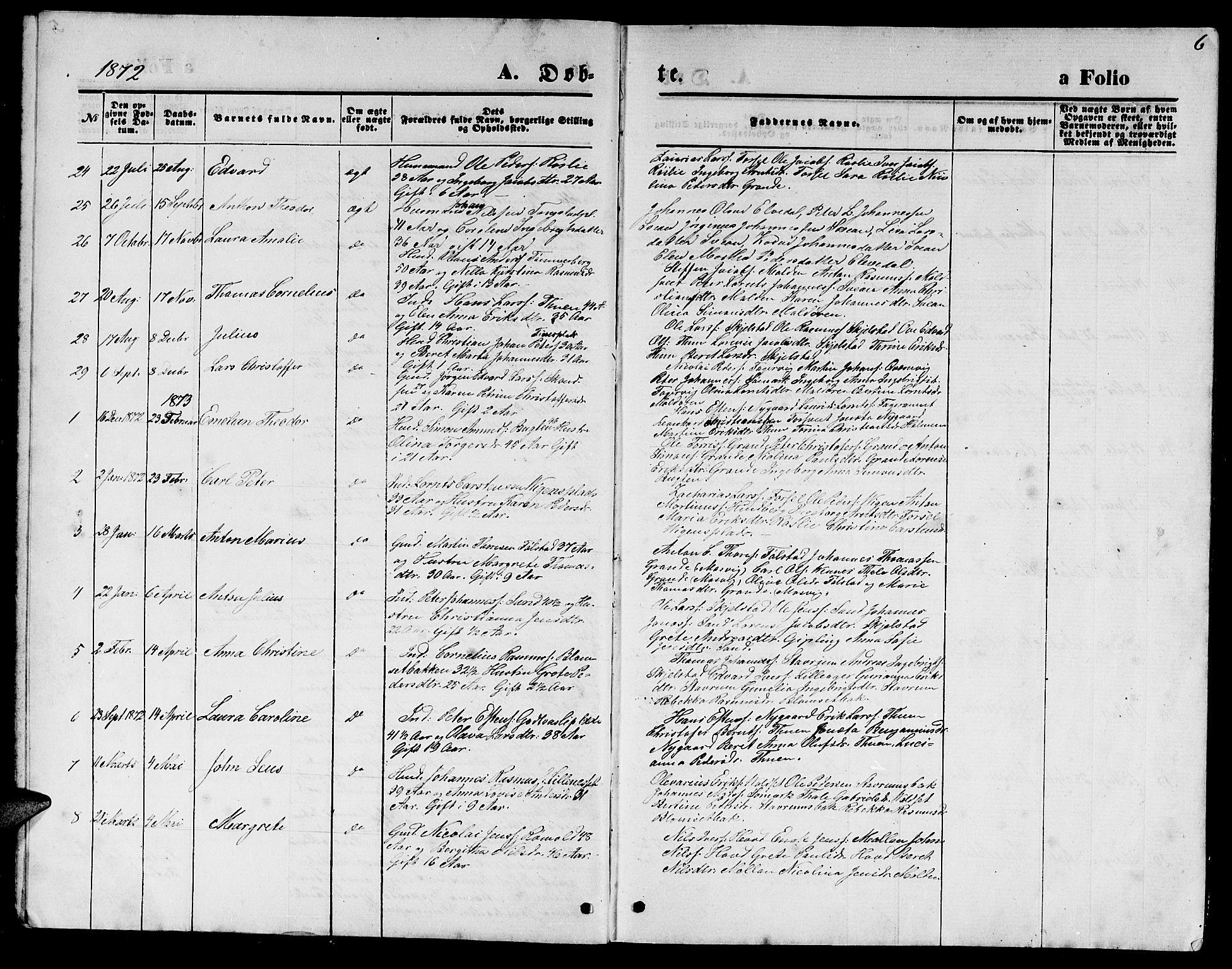 SAT, Ministerialprotokoller, klokkerbøker og fødselsregistre - Nord-Trøndelag, 744/L0422: Klokkerbok nr. 744C01, 1871-1885, s. 6