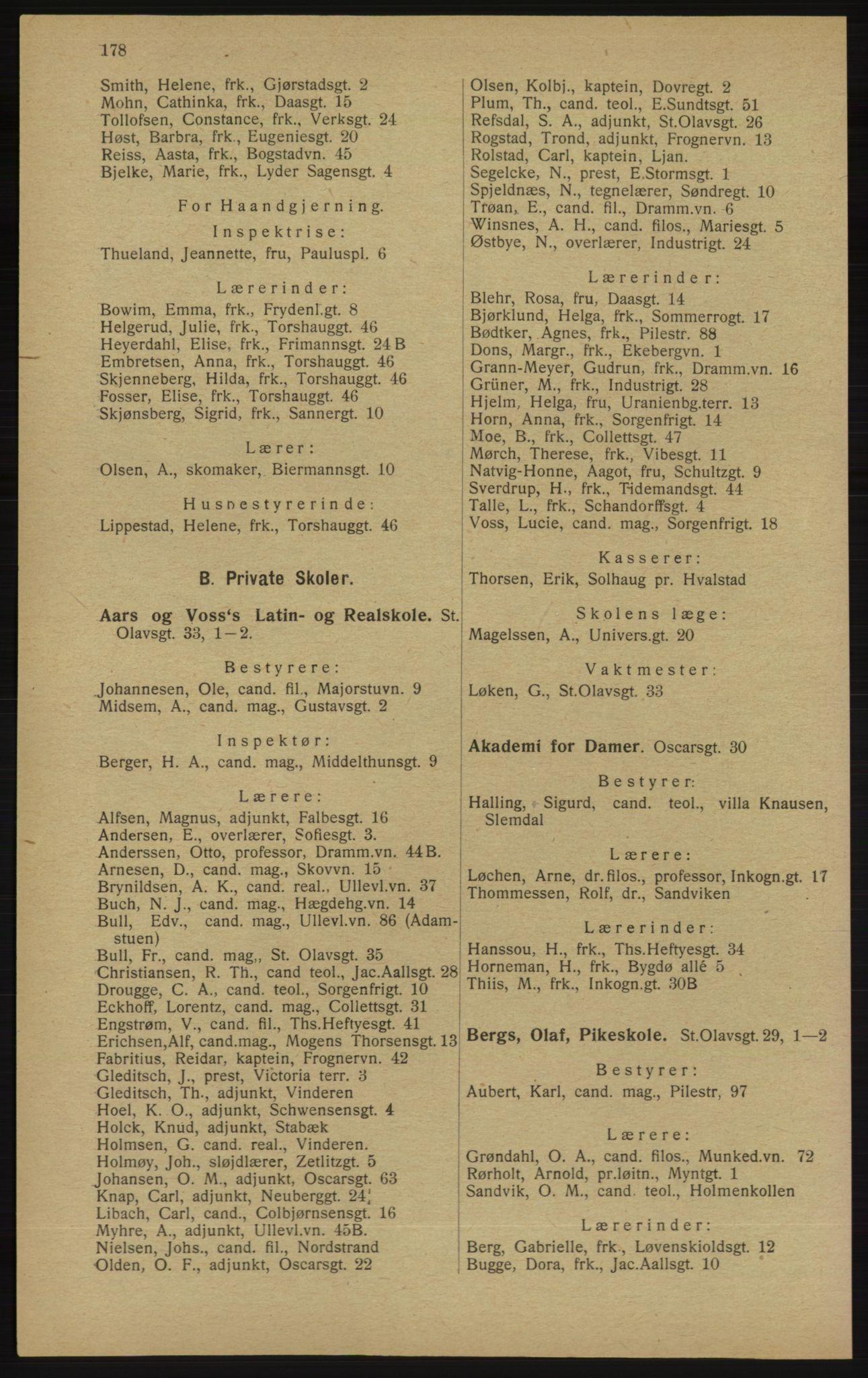 RA, Kristiania adressebok (publikasjon)*, 1913, s. 178