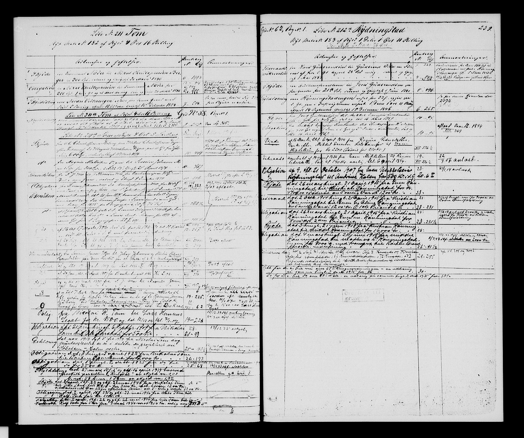 SAH, Sør-Hedmark sorenskriveri, H/Ha/Hac/Hacc/L0001: Panteregister nr. 3.1, 1855-1943, s. 239
