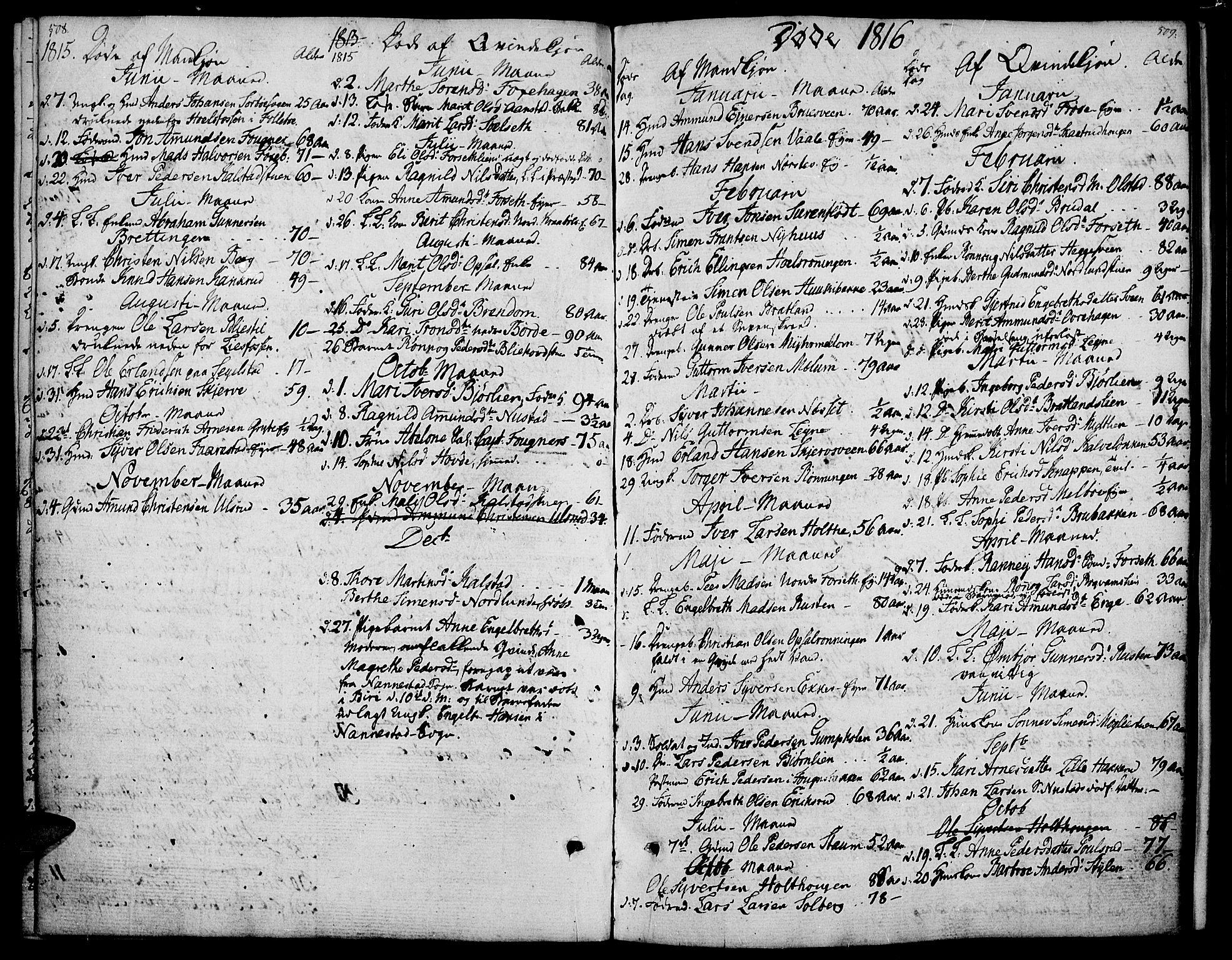 SAH, Gausdal prestekontor, Ministerialbok nr. 4, 1809-1817, s. 508-509