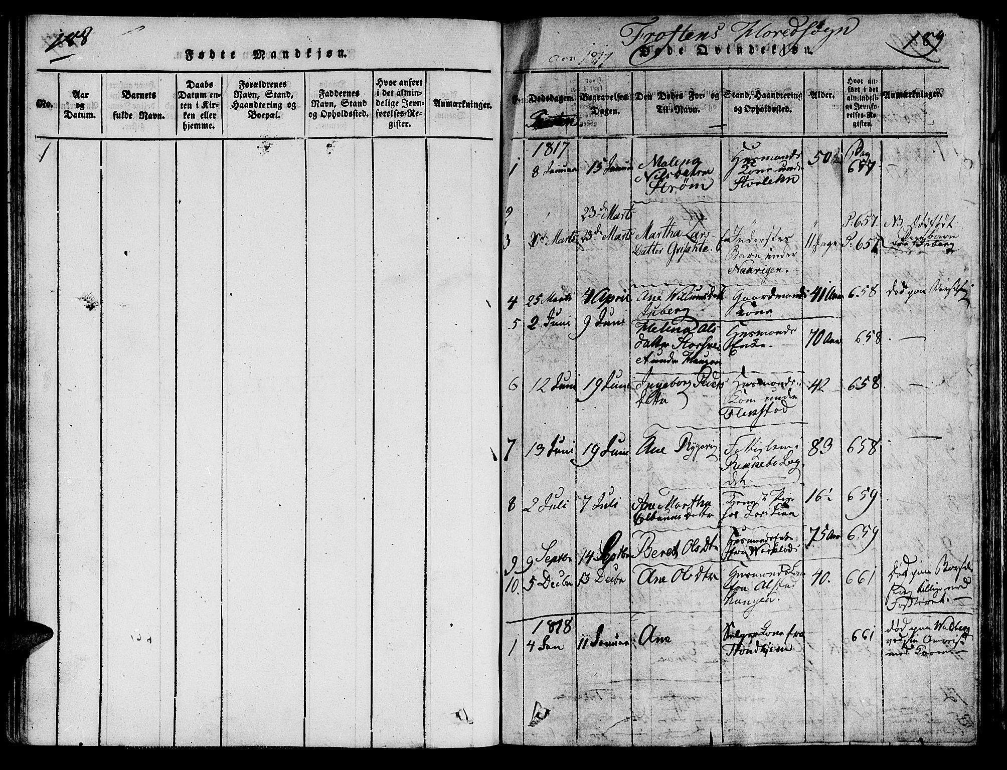 SAT, Ministerialprotokoller, klokkerbøker og fødselsregistre - Nord-Trøndelag, 713/L0112: Ministerialbok nr. 713A04 /1, 1817-1827, s. 188-189