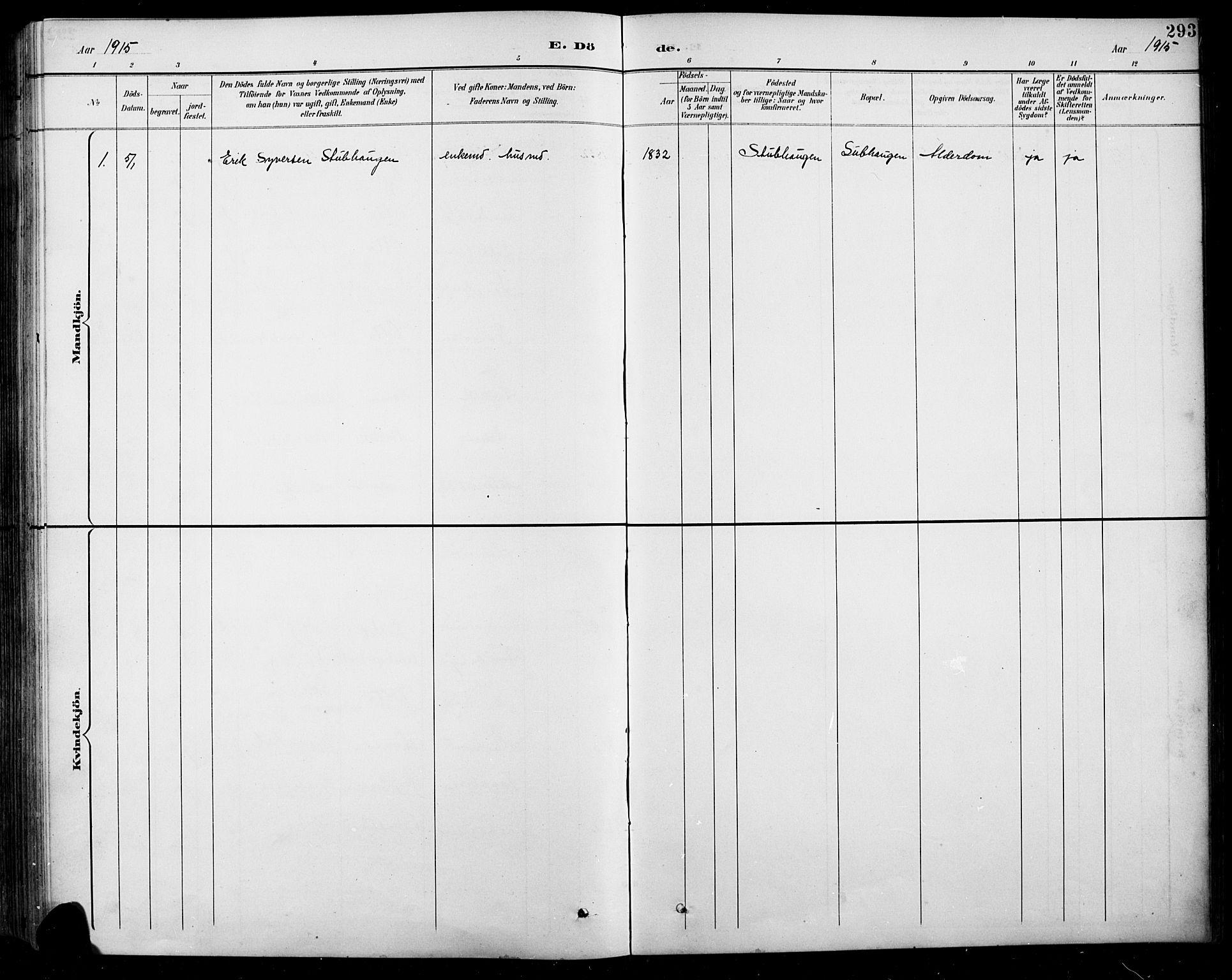 SAH, Sel prestekontor, Klokkerbok nr. 1, 1894-1923, s. 293